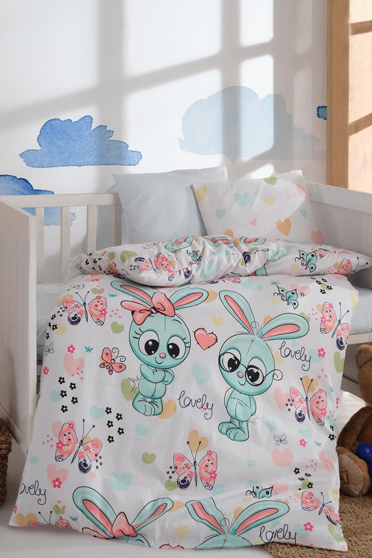 LadyModa Bebek Nevresim Takımı Yüzde Yüz Pamuklu   Tavşan