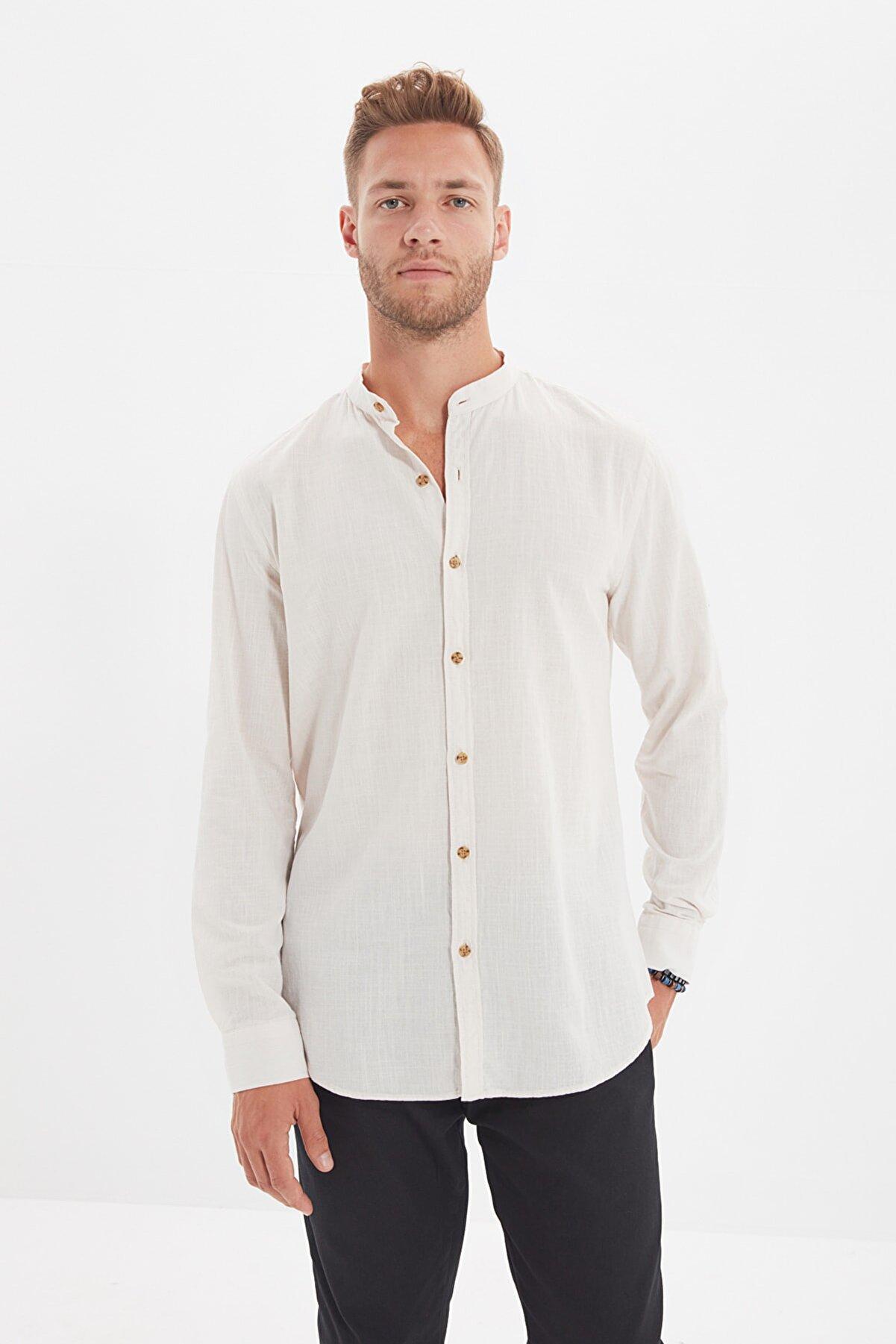 TRENDYOL MAN Taş Erkek Basic Hakim Yaka Apoletli Slim Fit Gömlek TMNSS20GO0188