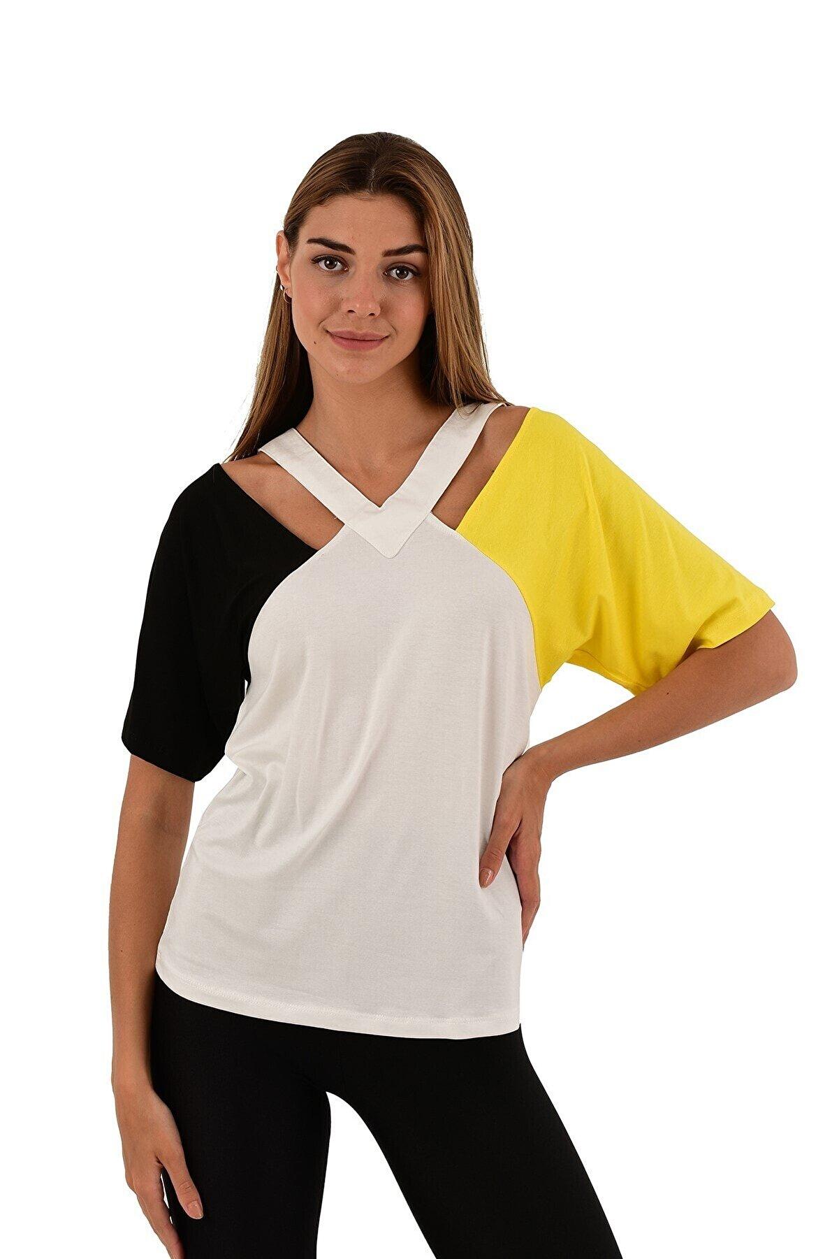 Modagusto Renk Bloklu Yaka Detaylı Beyaz Bluz