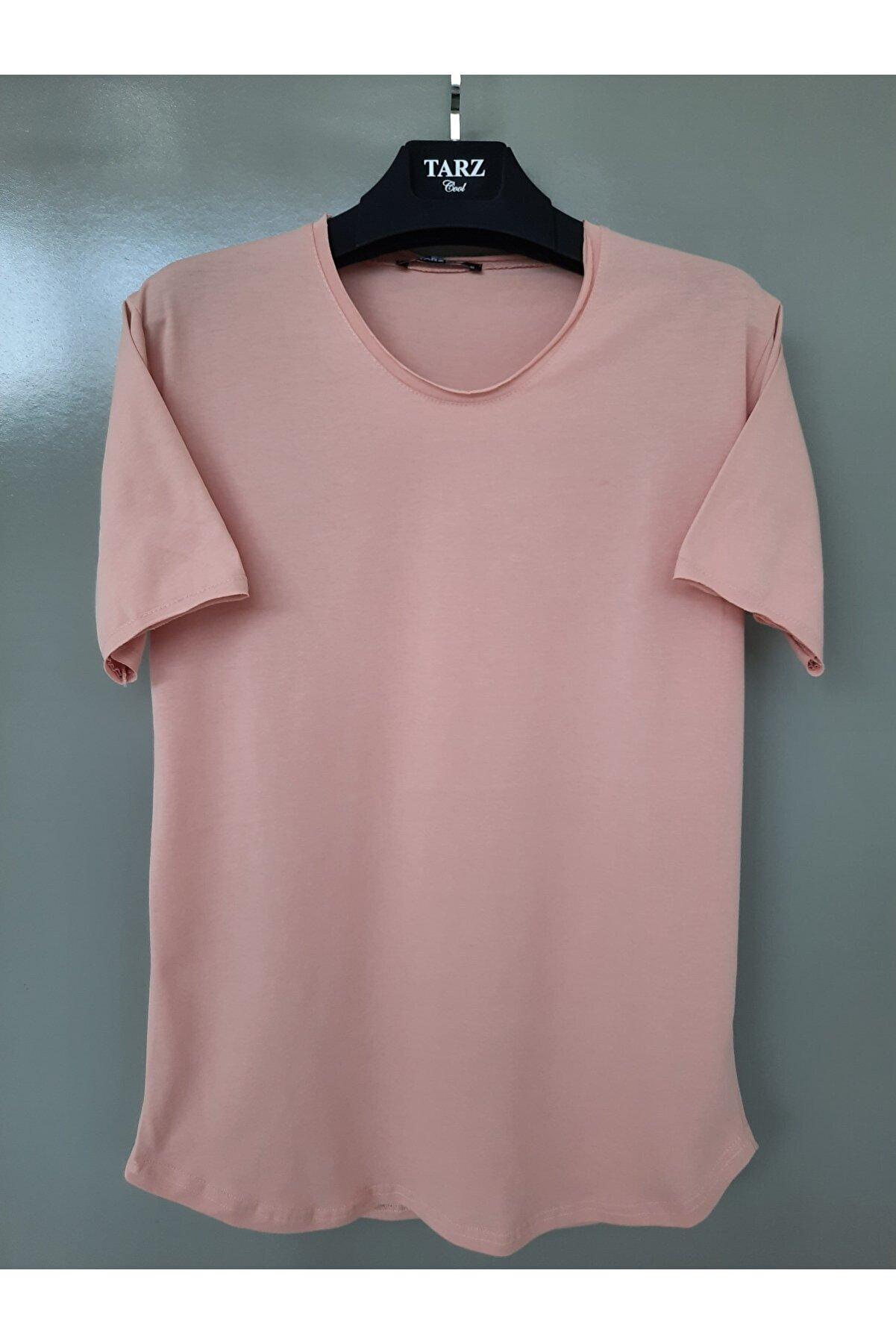 Tarz Cool Erkek Açık Pudra Pis Yaka Salaş T-shirt