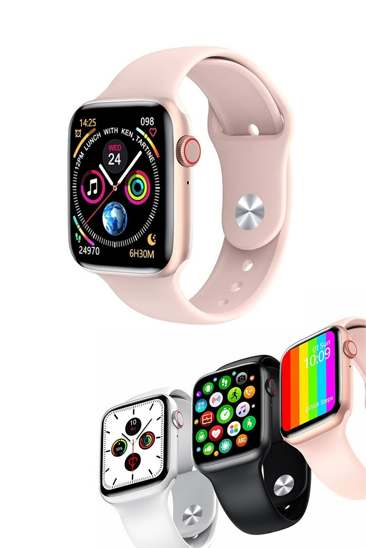 Favors Asus Zenfone 5z Uyumlu Sağlık & Spor Modları Aktif Smart Watch Series W26+ Akıllı Saat Pembe