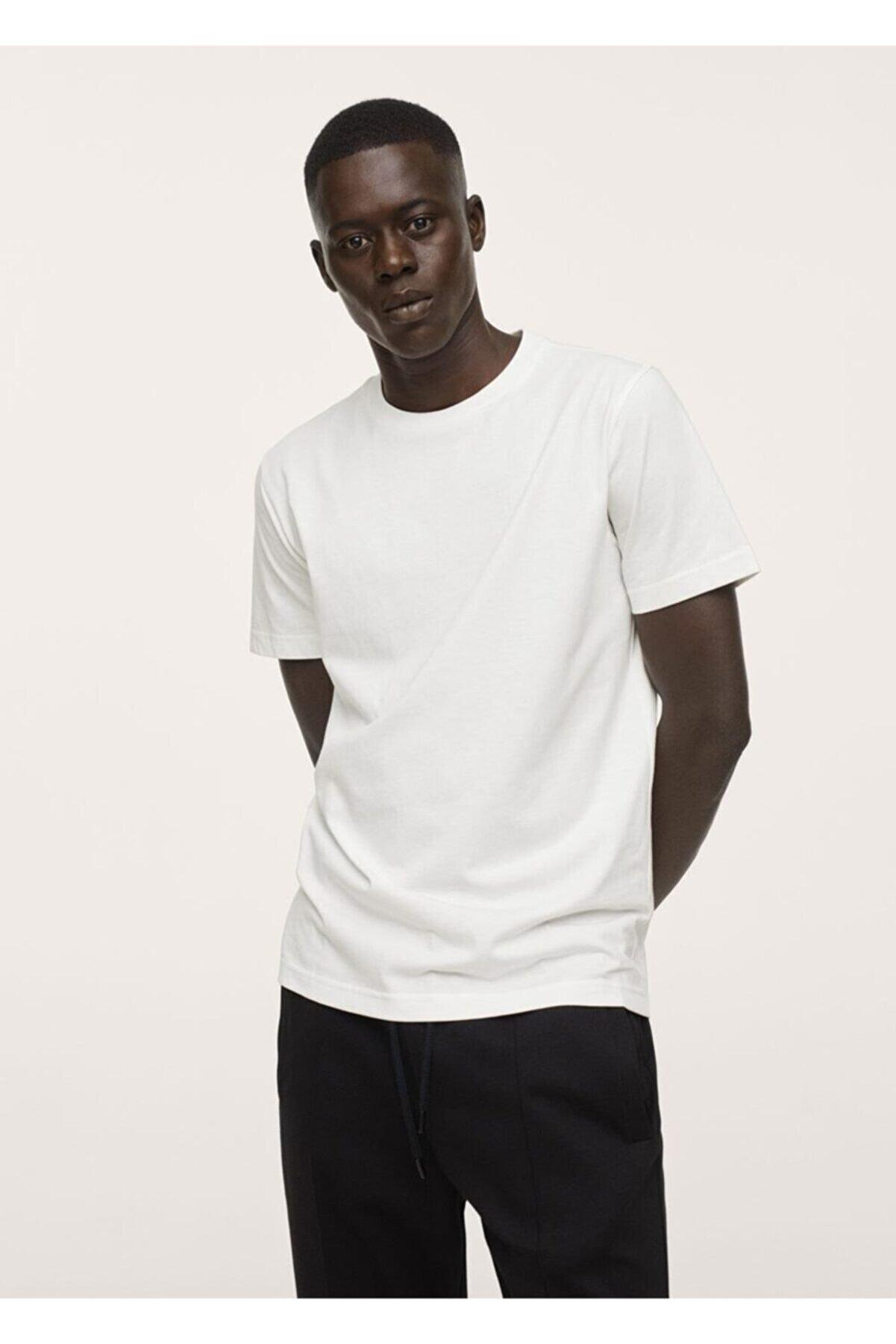 Mango Erkek Kırık Beyaz Sürdürülebilir Pamuklu Basic Tişört