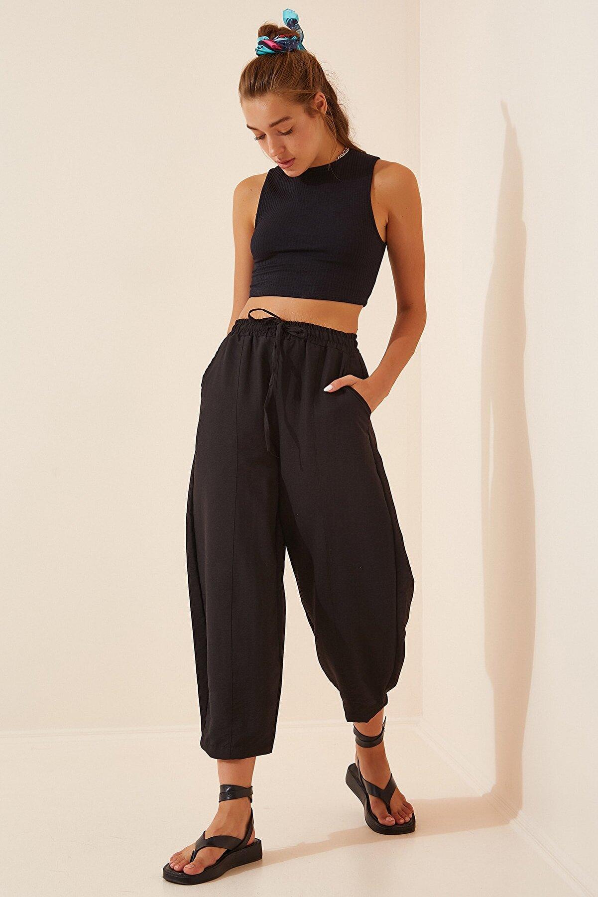 Happiness İst. Kadın Siyah Cepli Keten Viskon Şalvar Pantolon CV00001