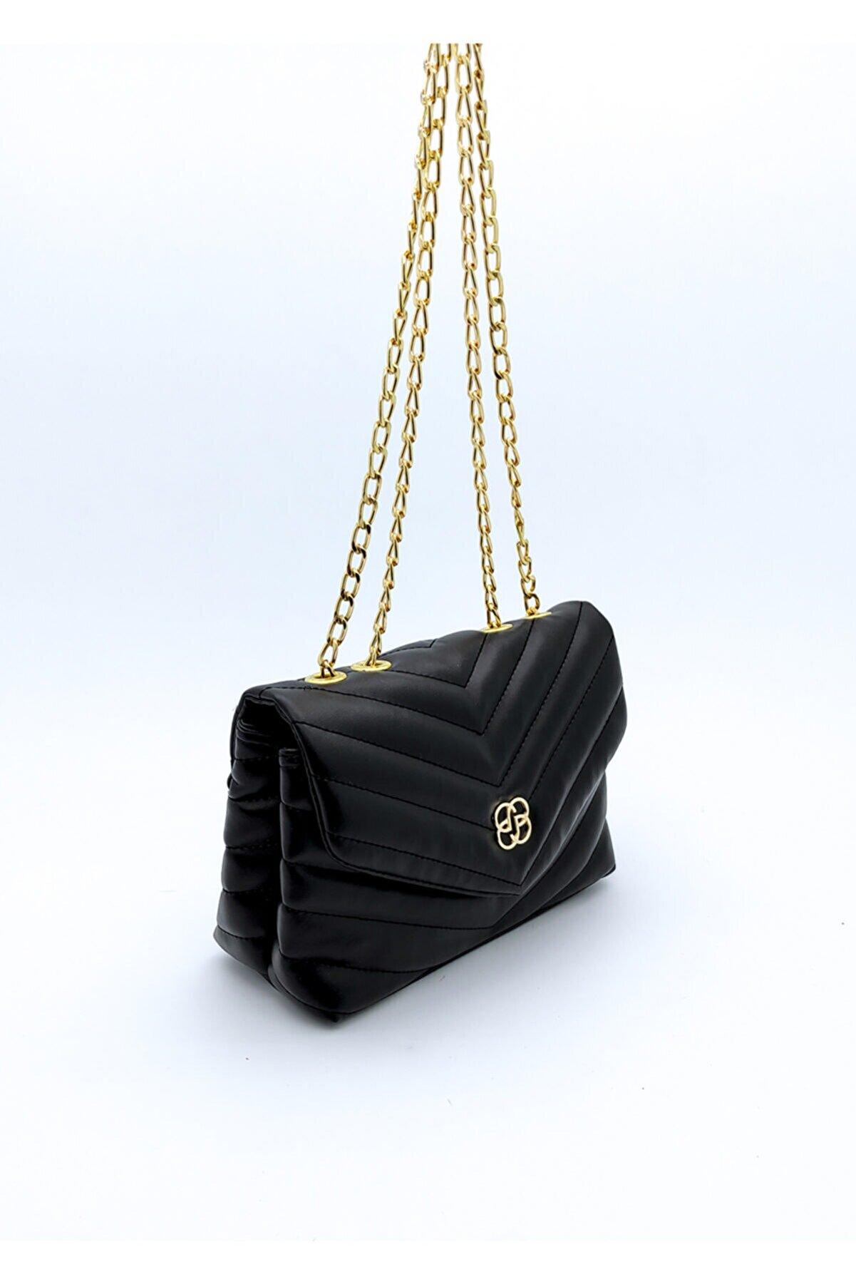 Rimense Kadın Siyah Çapraz Dikiş Kapitone Zincir Detaylı Çanta