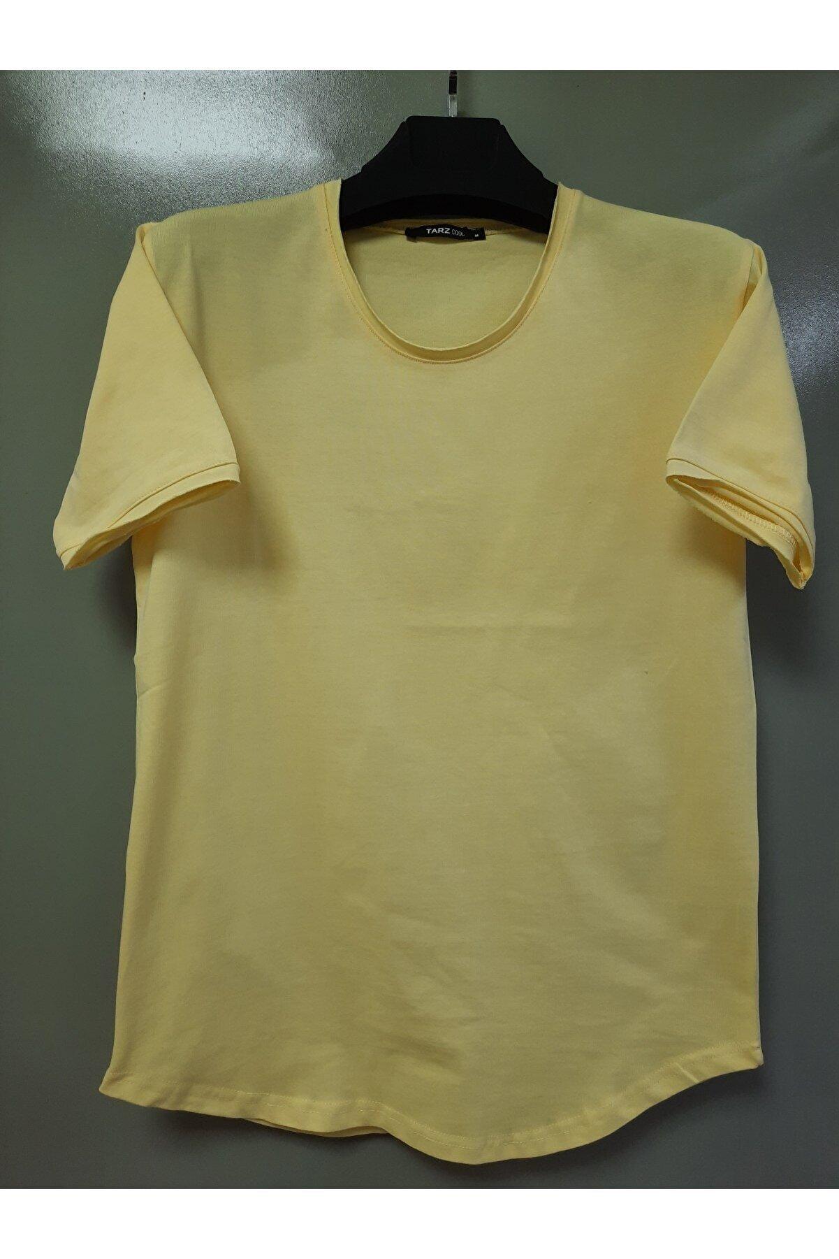 Tarz Cool Erkek Limoni Pis Yaka Salaş T-shirt