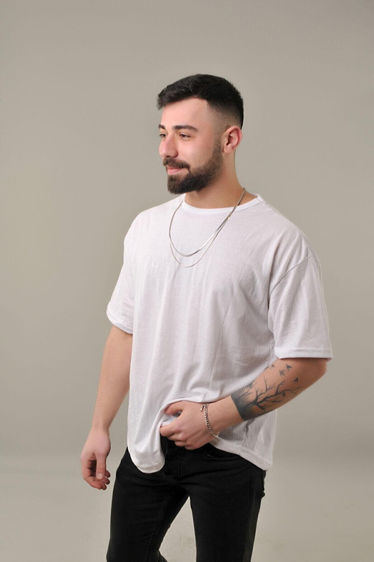 SKYBEAR Erkek Beyaz Oval Kesim Oversize T-Shirt