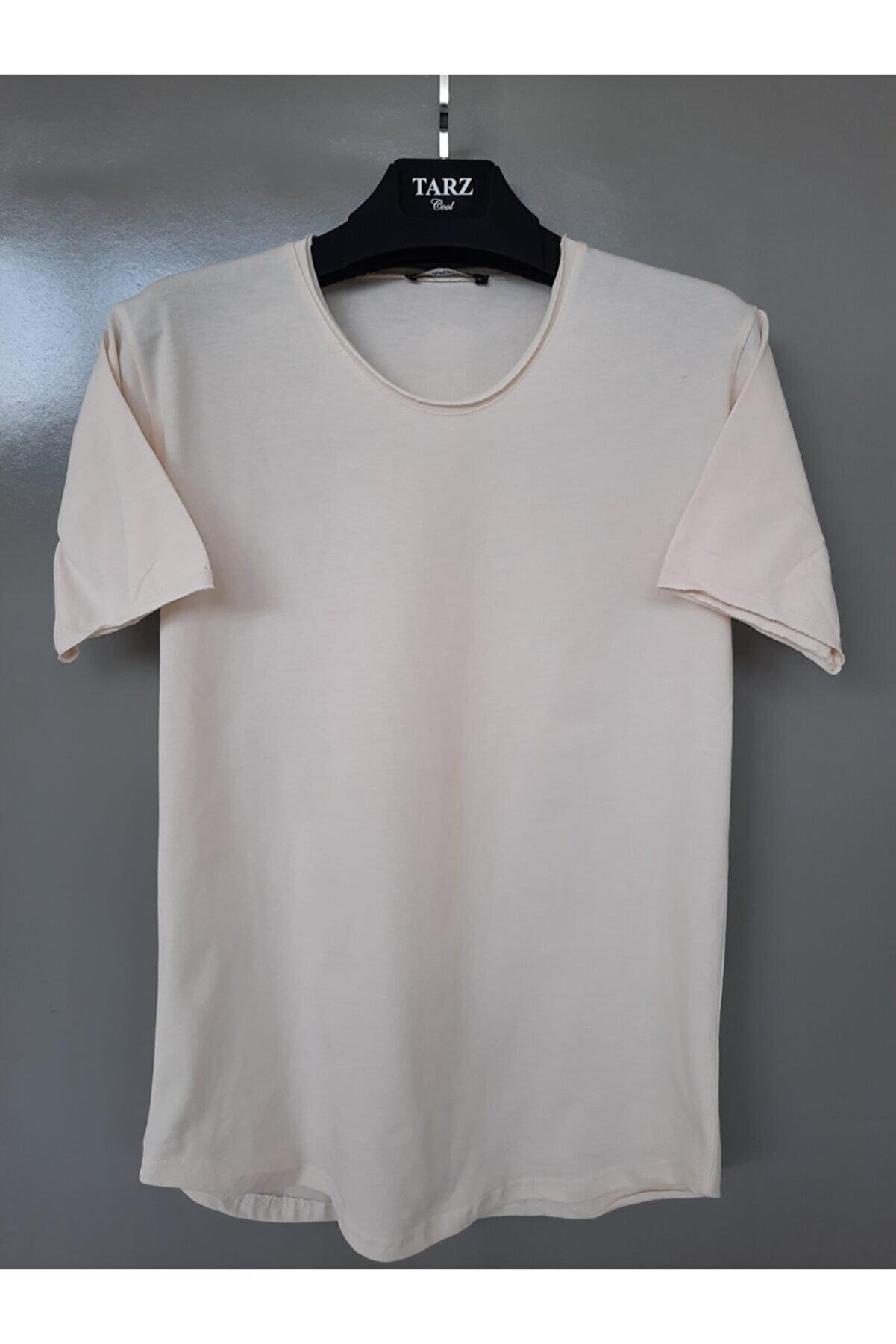 Tarz Cool Erkek Açık Krem Noktalı Pis Yaka Salaş T-shirt