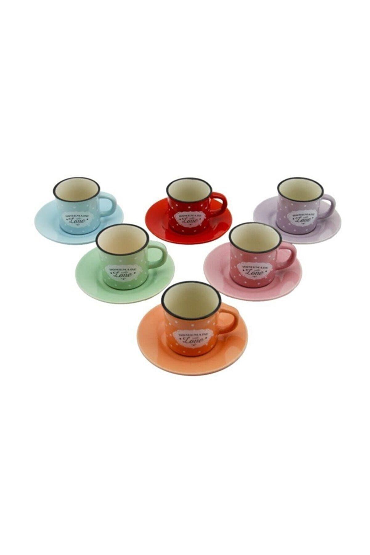 Ms Morry 12 Parça Renkli Kahve Fincan Takımı. Silindir 6 Kişilik Porselen Set