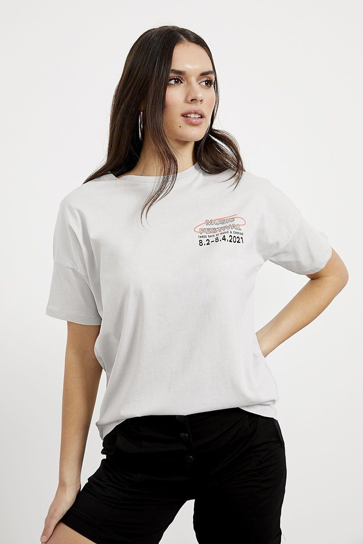Arma Life Kadın  Gri Arkası Baskı T-shirt