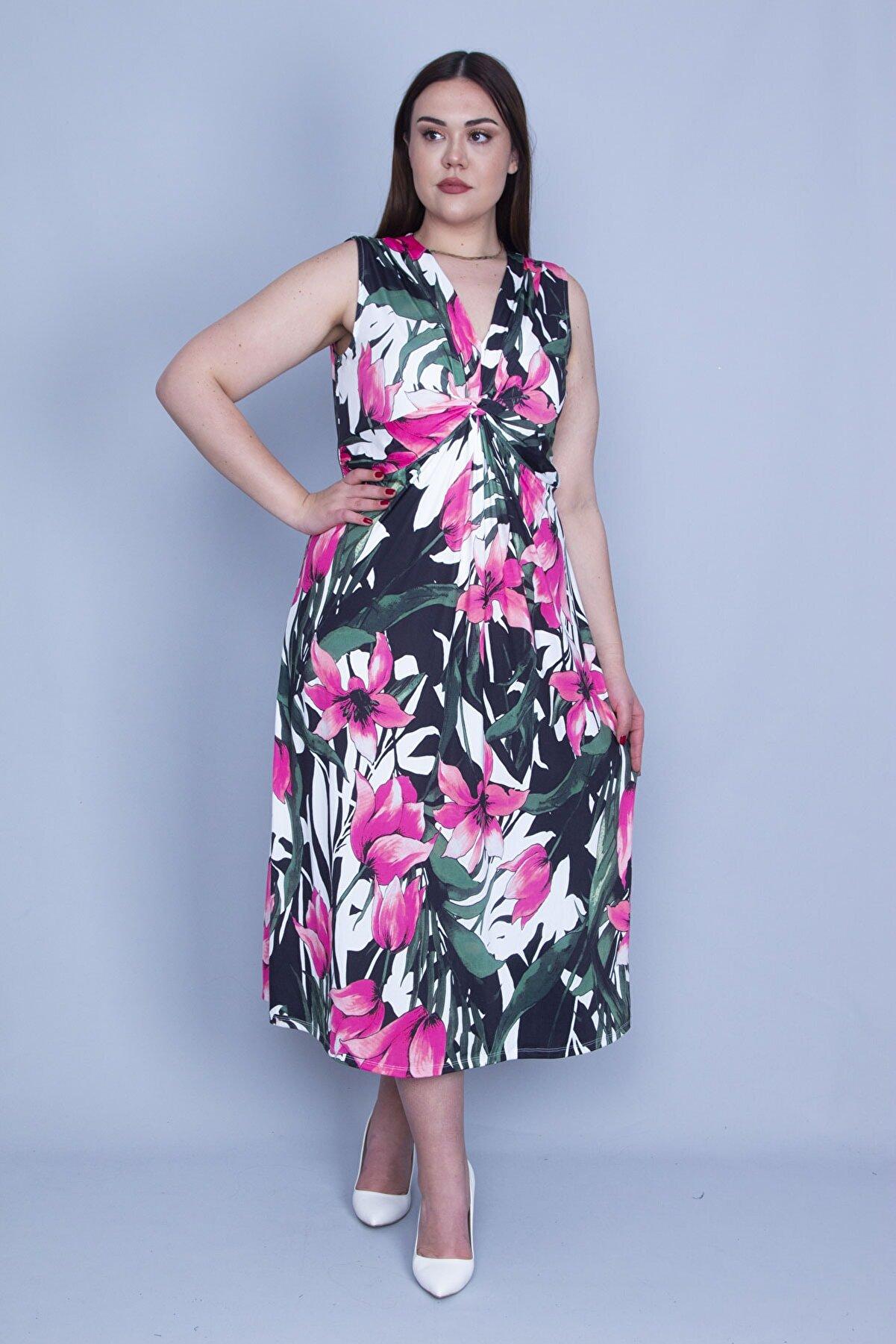 Şans Kadın Renkli Göğüs Detaylı Çiçek Desenli Uzun Elbise 65N27345