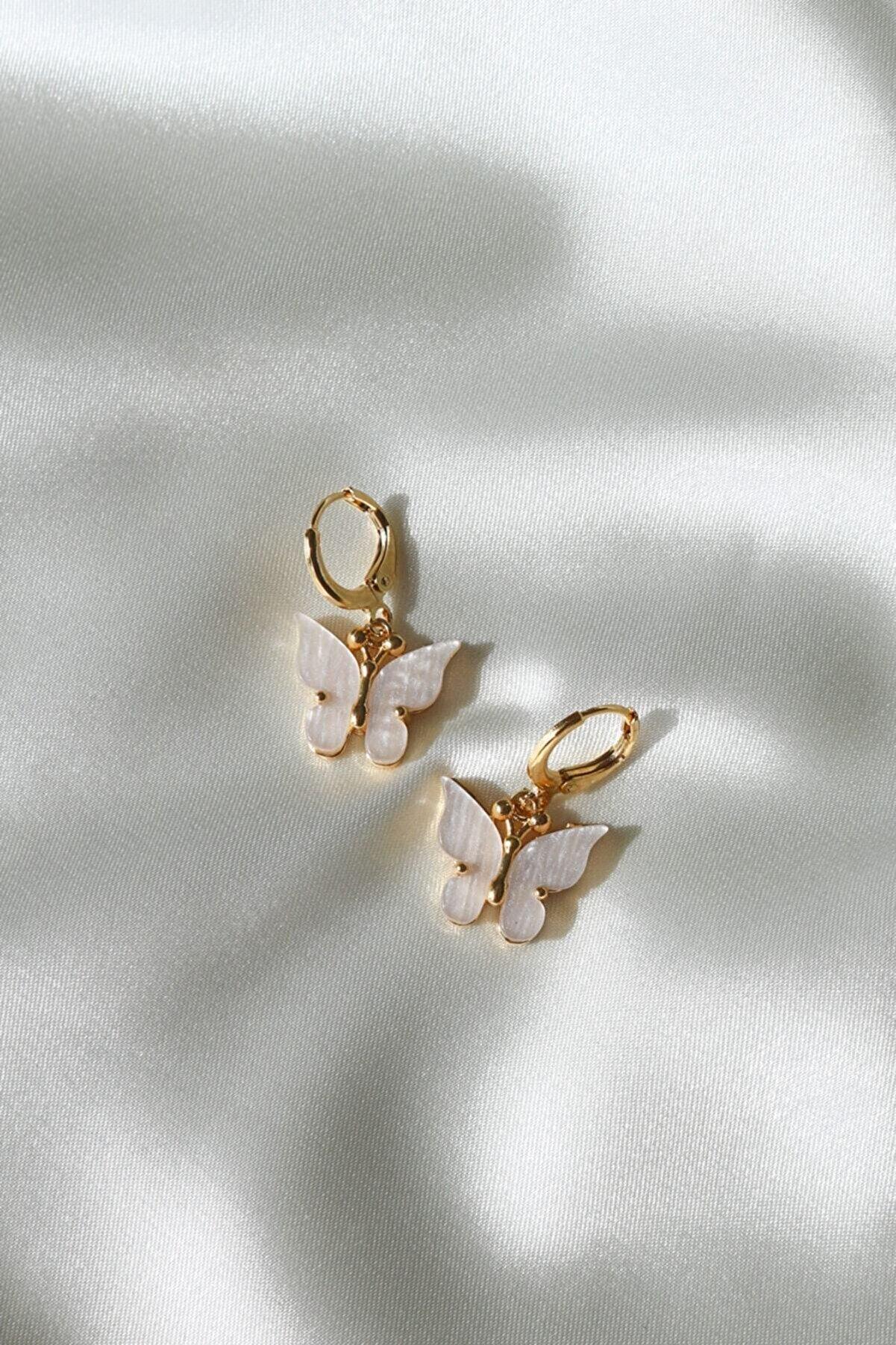 Reorah Collection Reorah Beyaz Kelebek Küpe