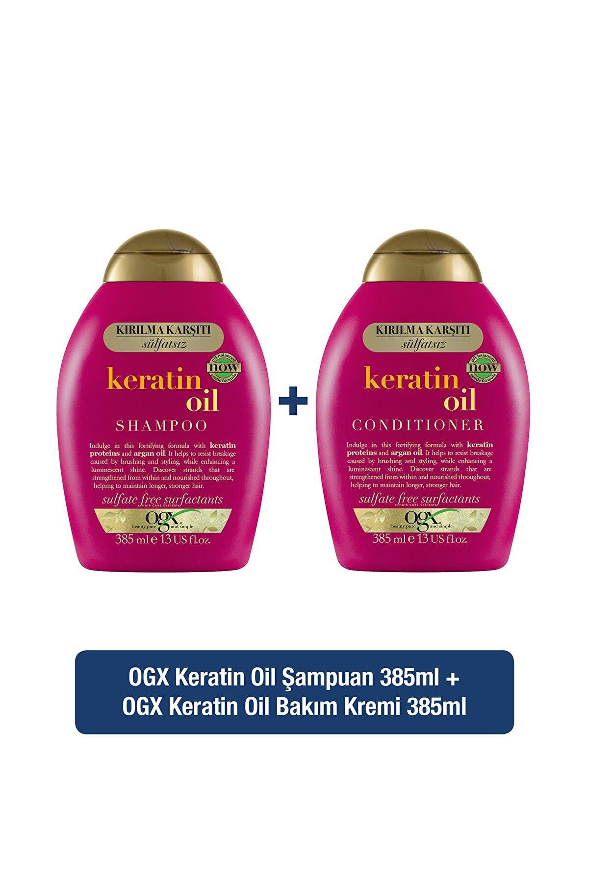 OGX Kırılma Karşıtı Keratin Oil Sülfatsız Şampuan 385ml + Bakım Kremi 385ml