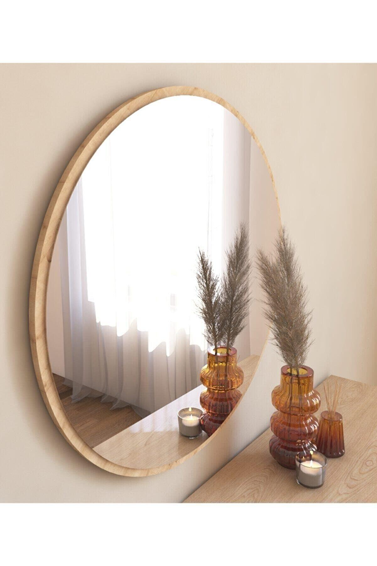 TARZDESİGN 58 Cm Safir Meşe Dekoratif Yuvarlak Antre Hol Koridor Duvar Salon Mutfak Banyo Wc Ofis Aynası