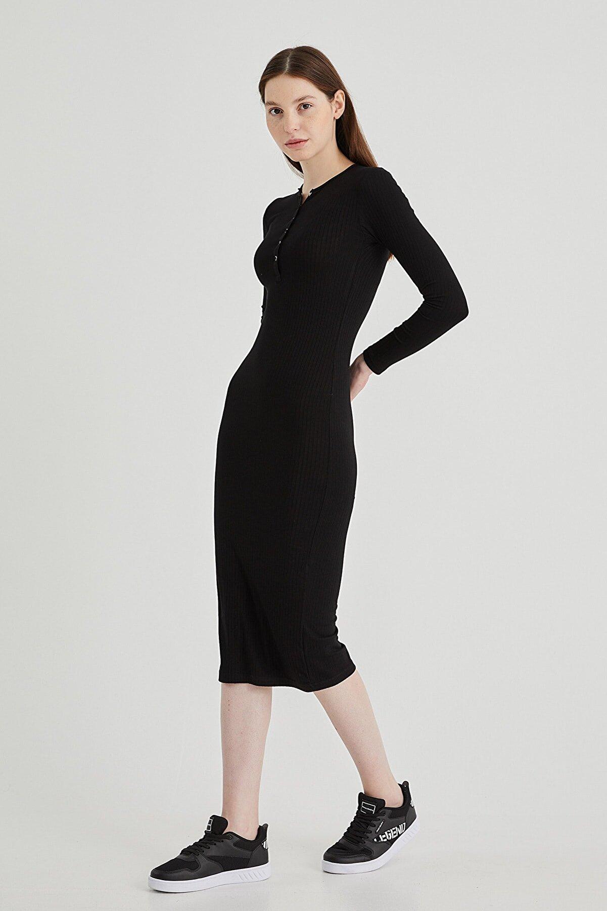 PAULMARK Yaka Detaylı Kalem Elbise