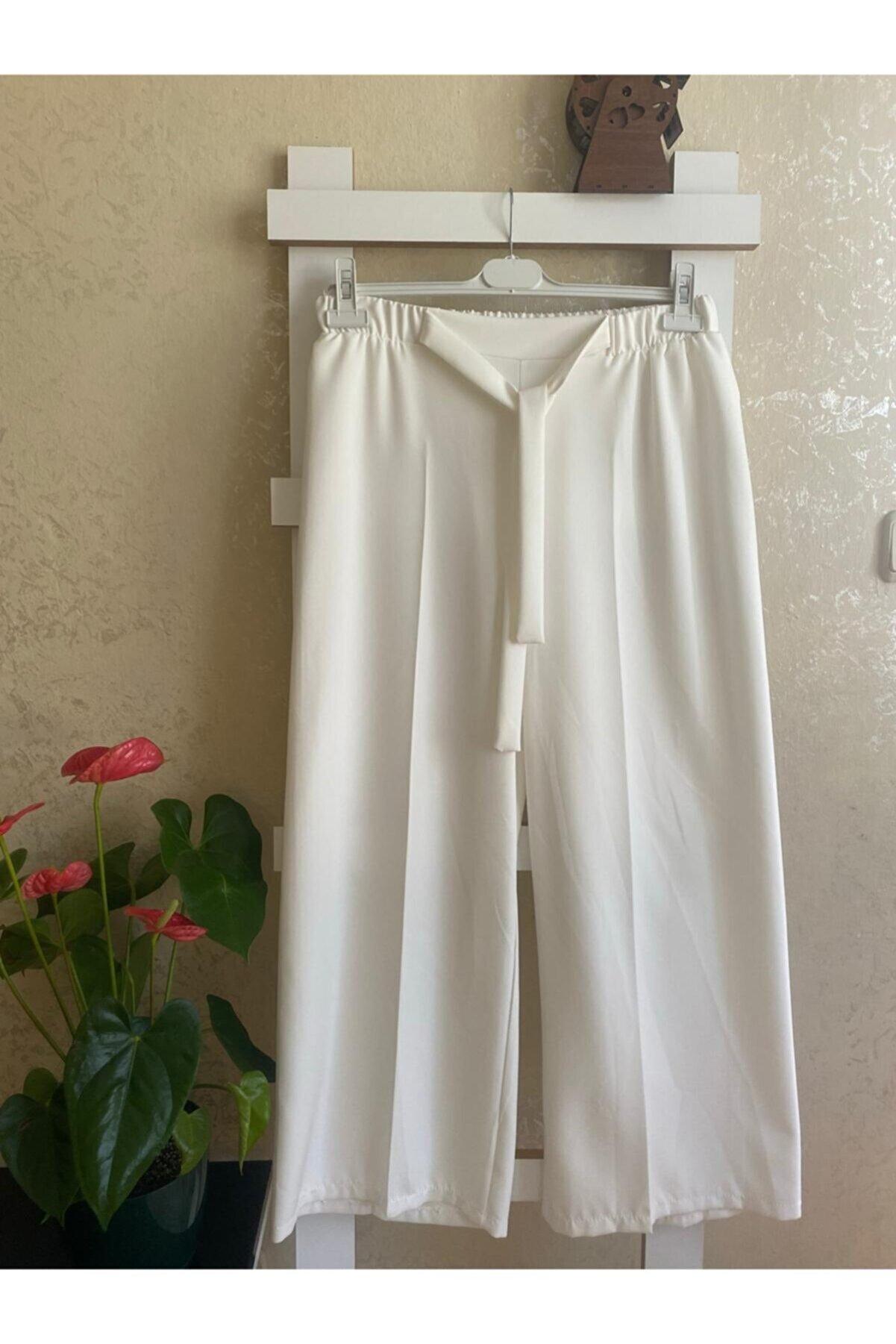 Modaluliwa Kadın Beyaz Kuşaklı Bol Paça Pantolon