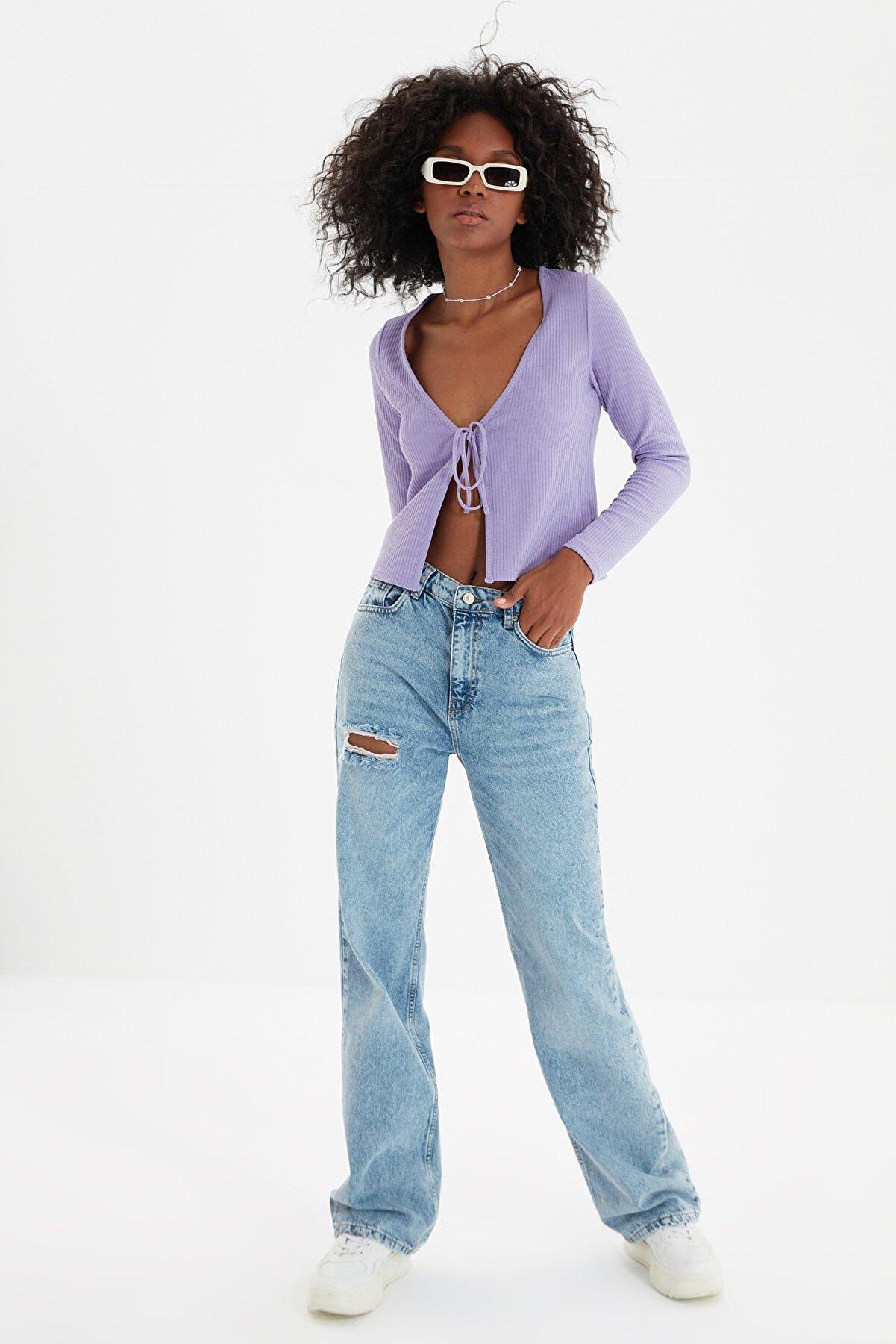 TRENDYOLMİLLA Mavi Yırtık Detaylı Yüksek Bel 90's Wide Leg Jeans TWOSS21JE0441