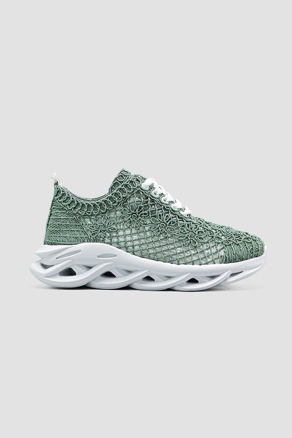Limoya Earlene Yeşil Nakış Işlemeli Bağcıklı Sneakers Spor Ayakkabı