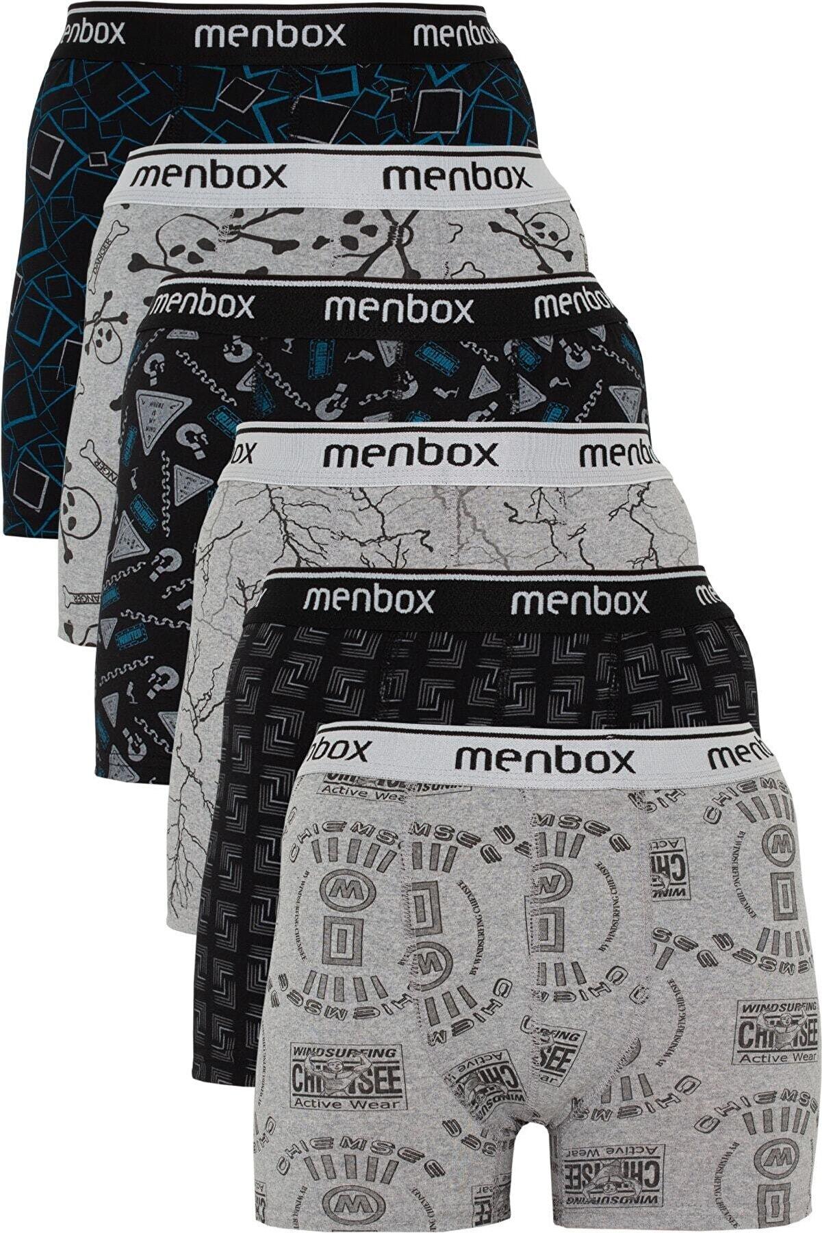 MENBOX 6'lı Desenli Likralı Klasik Erkek Boxer