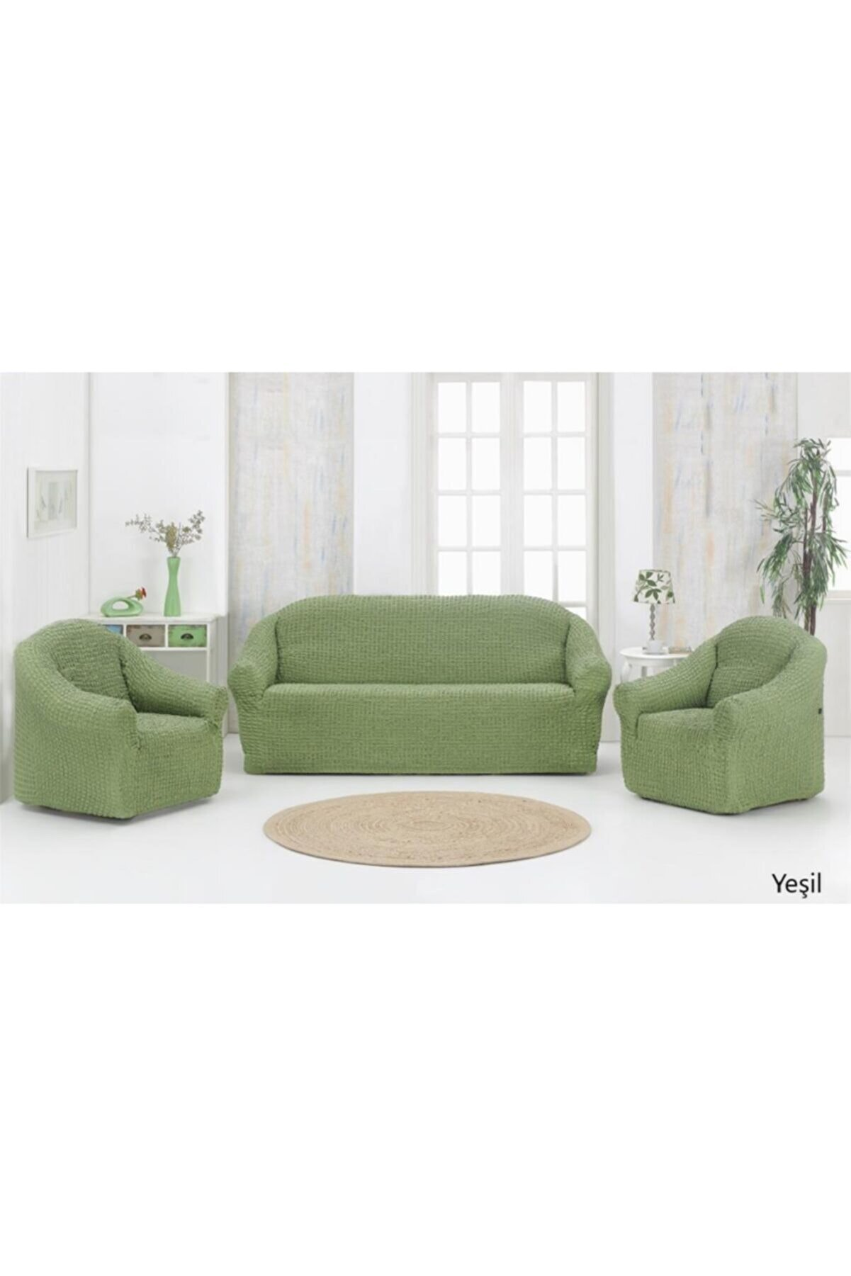 Karna Home Strech Pamuklu Koltuk Örtüsü Seti 3 1 1 Yeşil