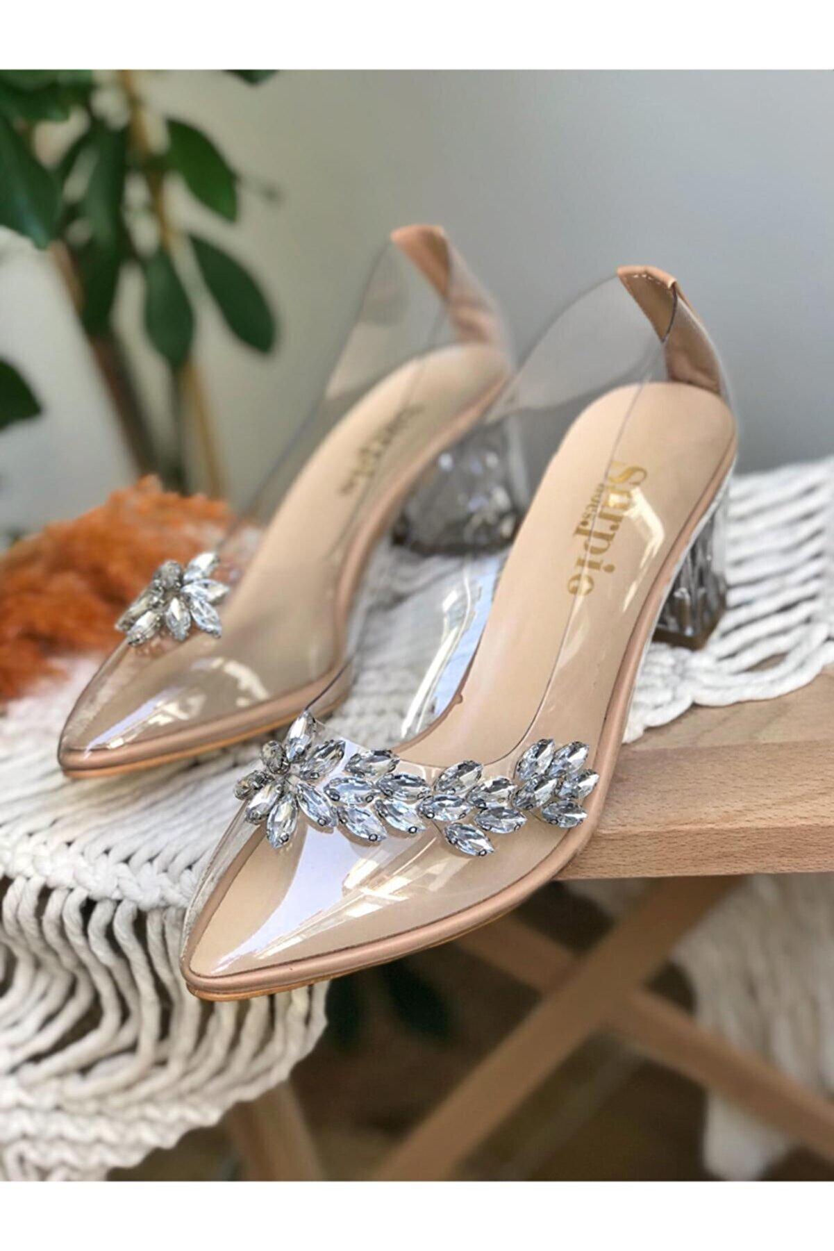 Surpie Shoes Kadın Nude Taş Detaylı Şeffaf Topuklu Ayakkabı