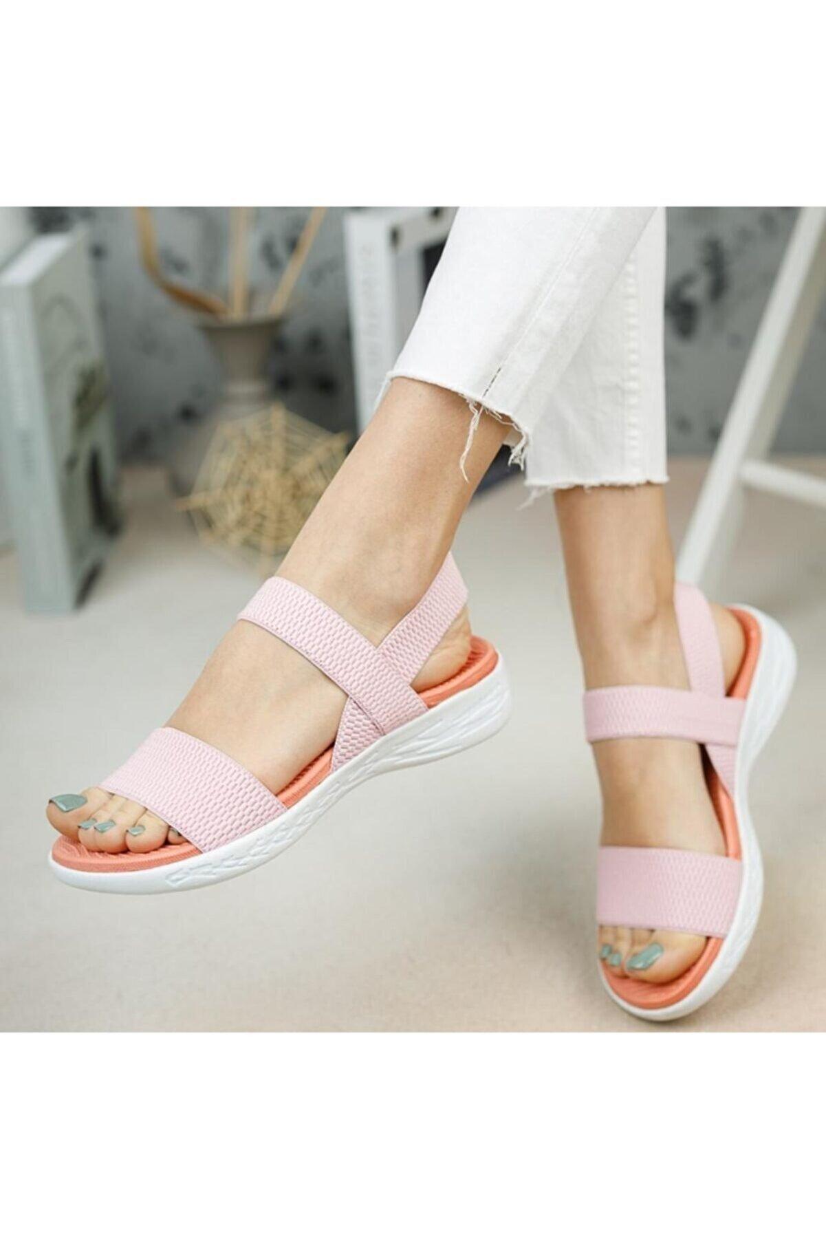 Moda Frato Kadın Pembe  Lastikli Yazlık Ayakkabı Sandalet Dva-600