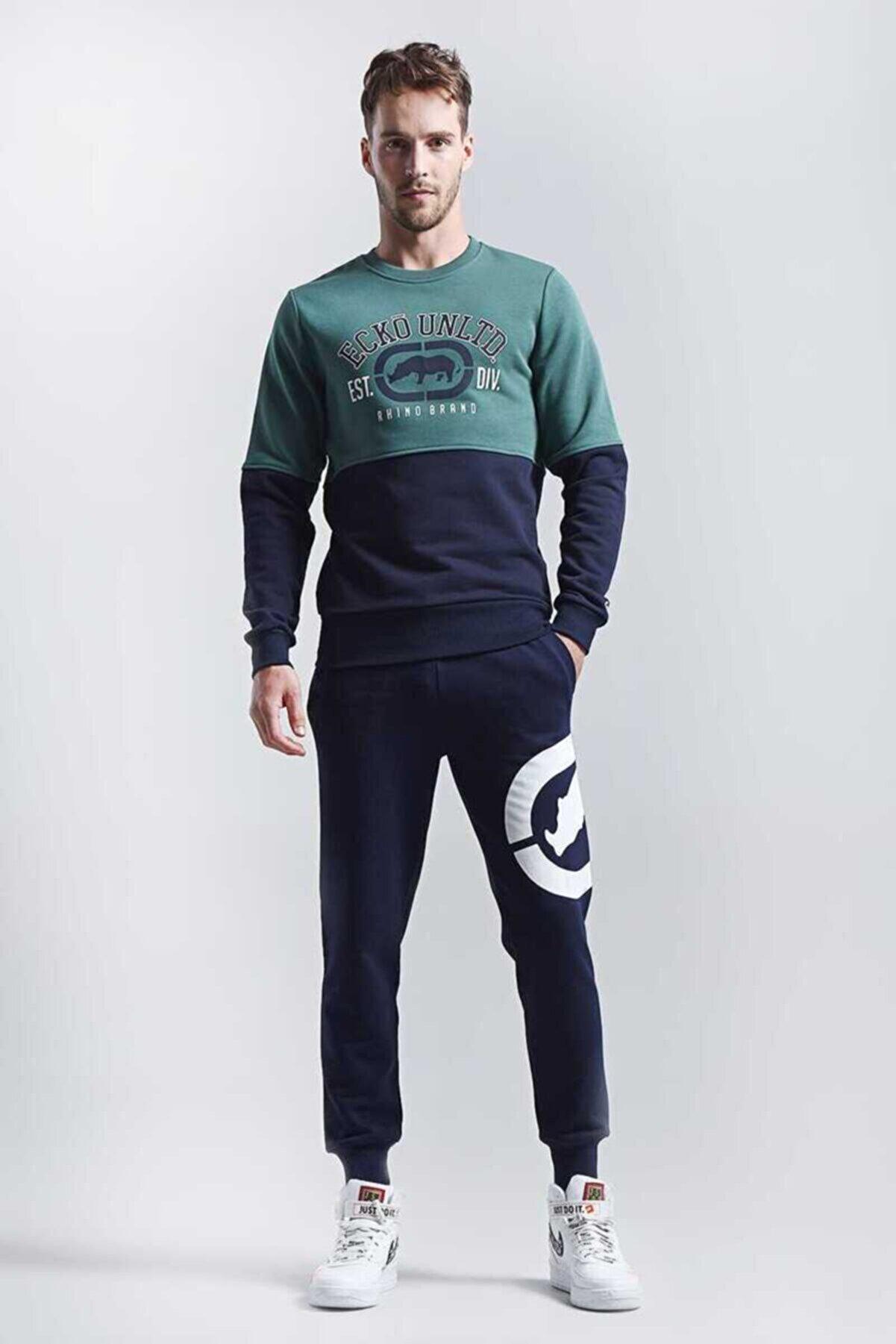 Ecko Unltd Logo Sweat 2 Yeşil Erkek Baskılı Bisiklet Yaka Sweatshirt