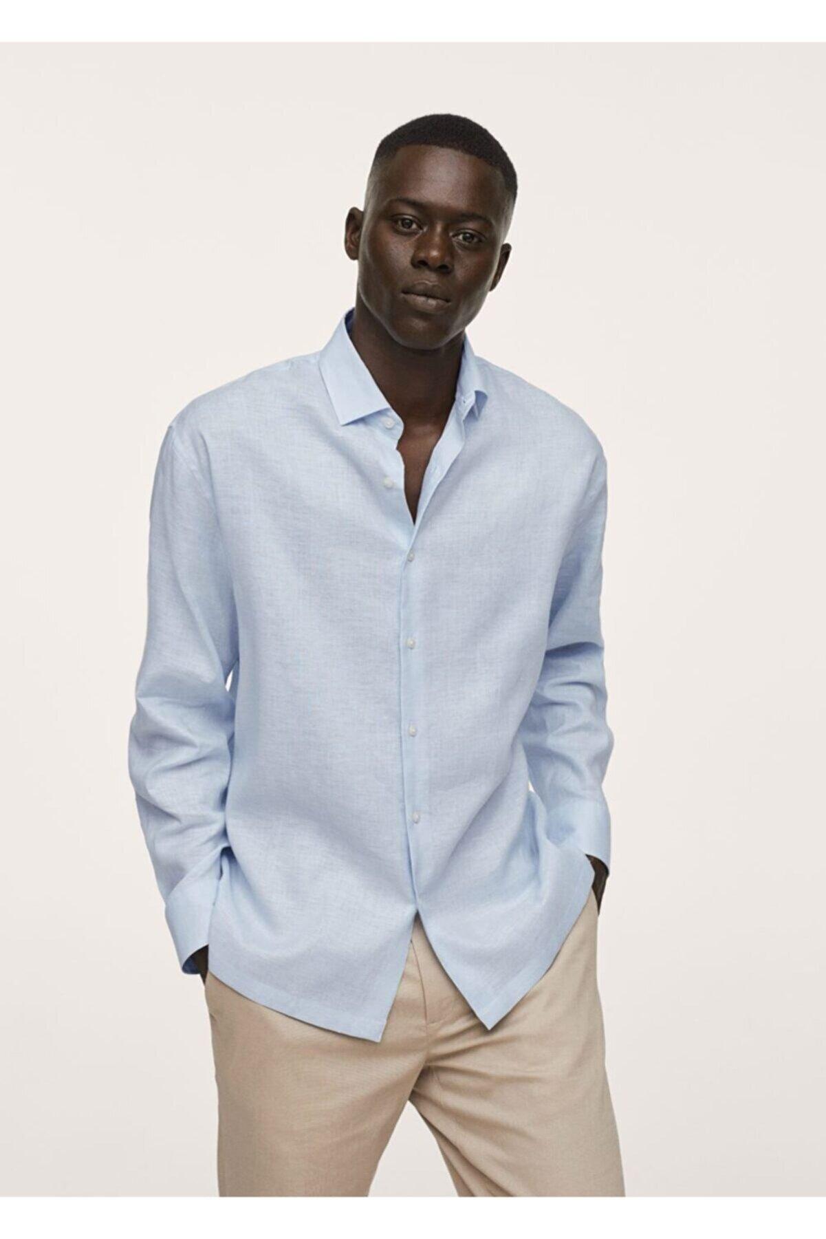 Mango Erkek Gök Mavisi Regular Kesim Teknik Keten Kumaşlı Gömlek