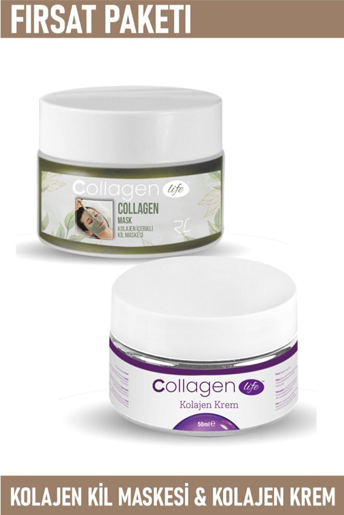 RC COSMETİCS Collagen Lıfe Kolajen Kil Maskesi 125gr& Gözenek Sıkılaştırıcı Kolajen Krem 50ml
