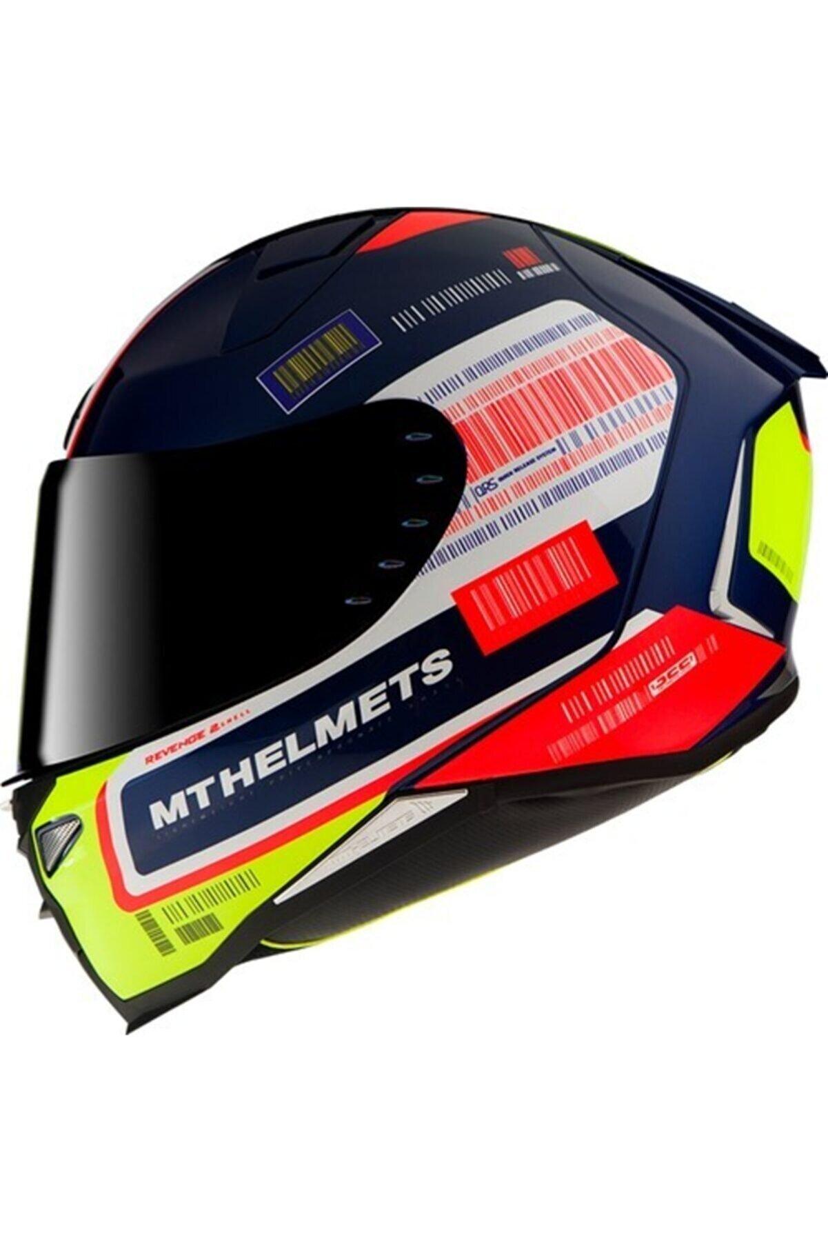 MT Helmets Mt Kask Mt Revenge 2 Rs A0 Gloss Pearl Blue Şeffaf Vizörlü