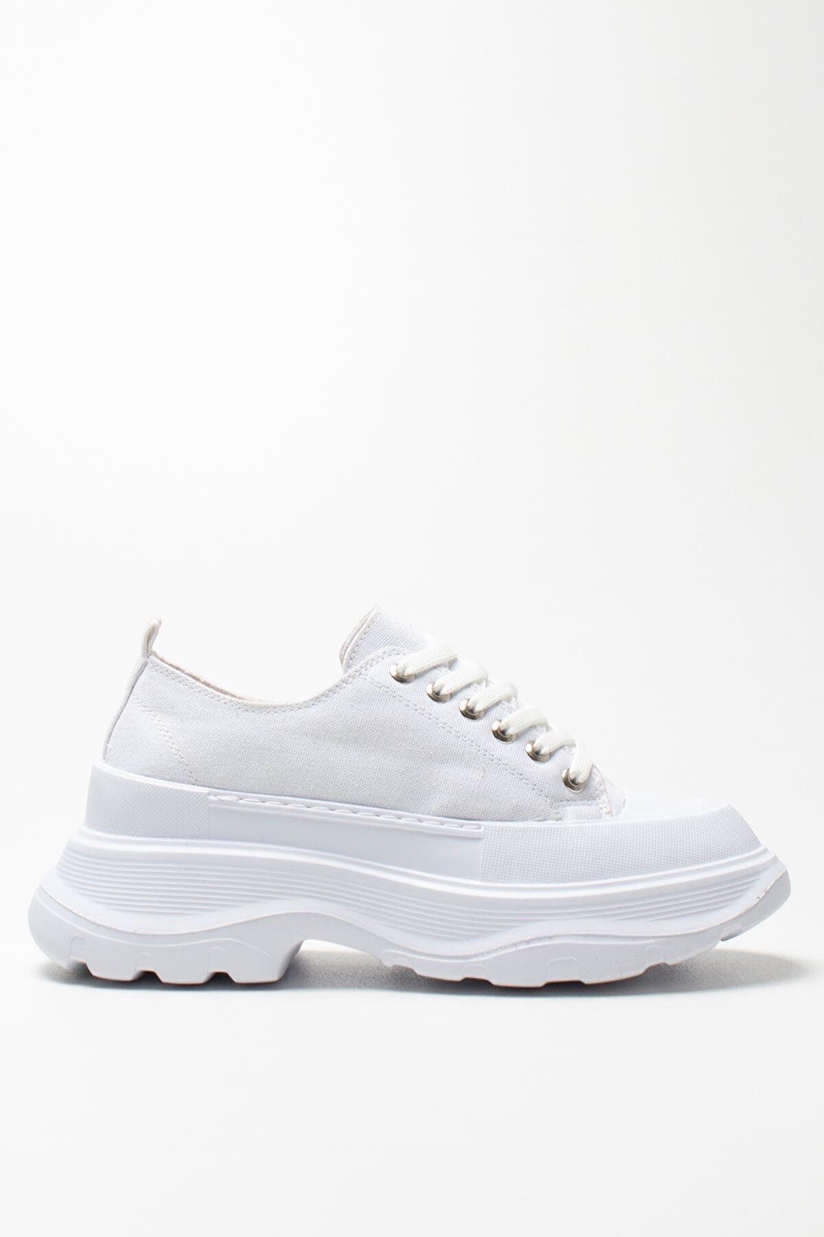 Louis Cardy Kadın Beyaz Keten Sneakers