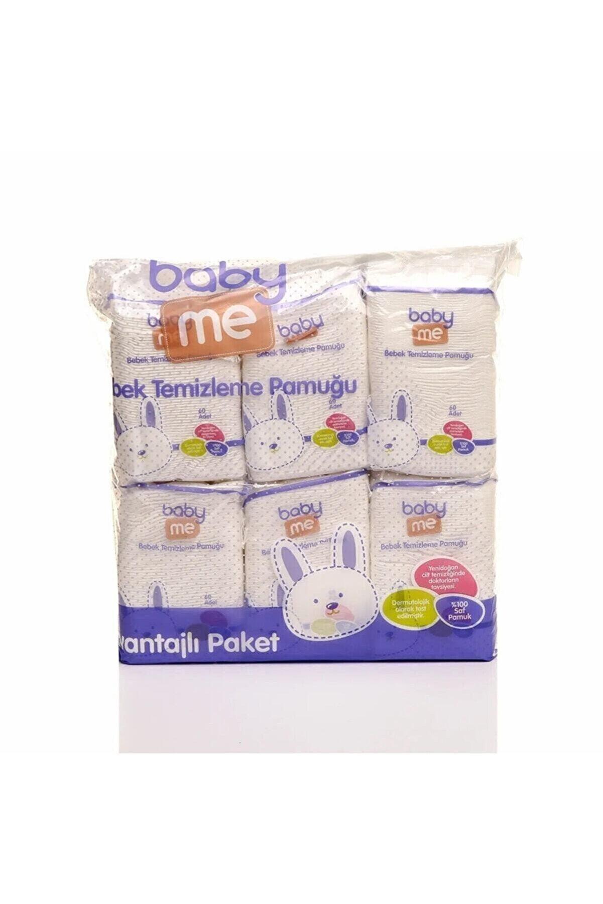 Baby Me Yenidoğan Organik Bebek Alt Ve Vücut Cilt Temizleme Pamuğu 6'lı Paket