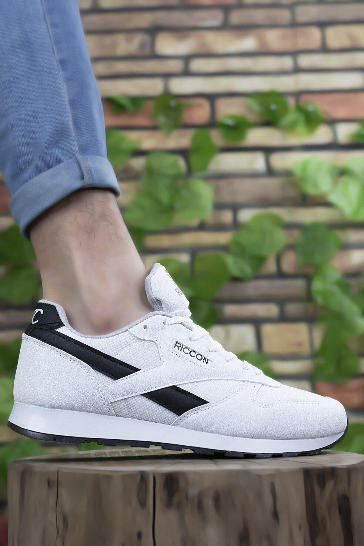 Riccon Beyaz Siyah Unisex Sneaker 0012853
