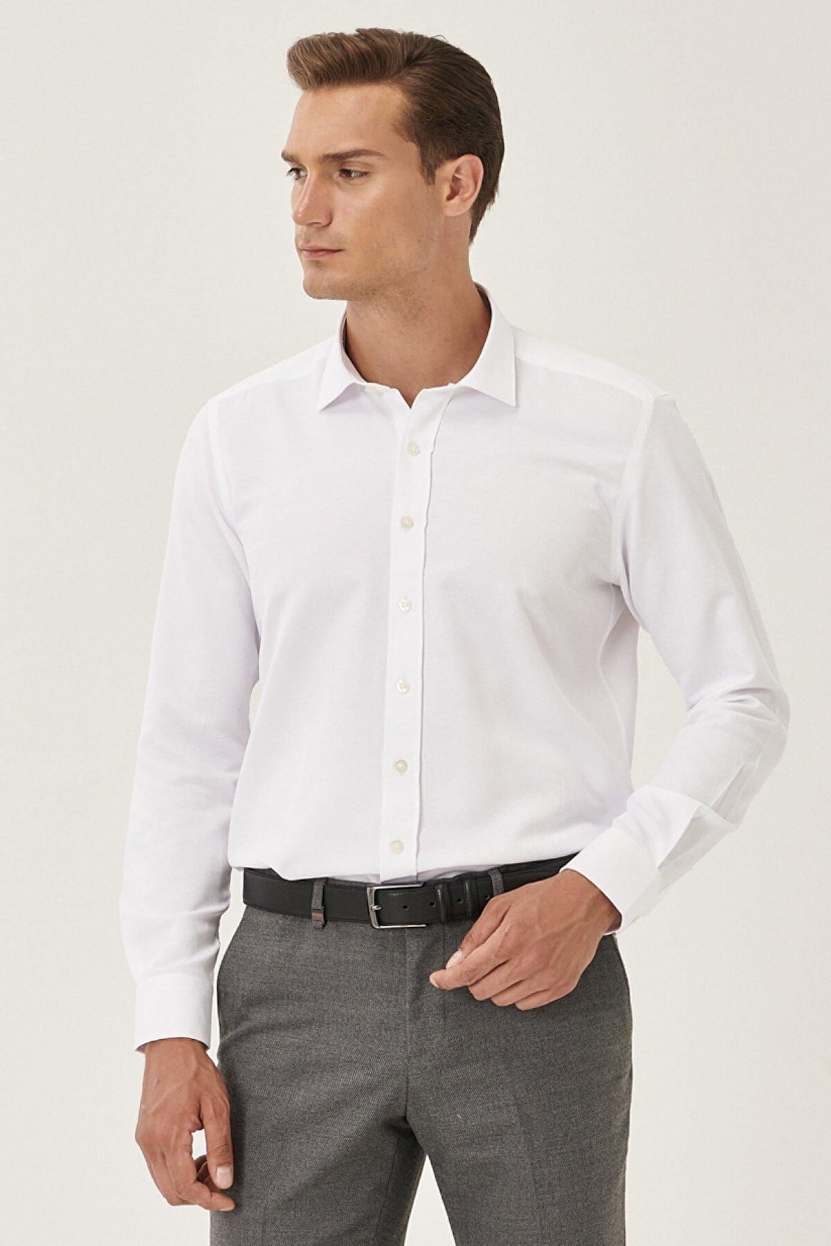 Altınyıldız Classics Erkek Beyaz Tailored Slim Fit Klasik Yaka Armürlü Gömlek