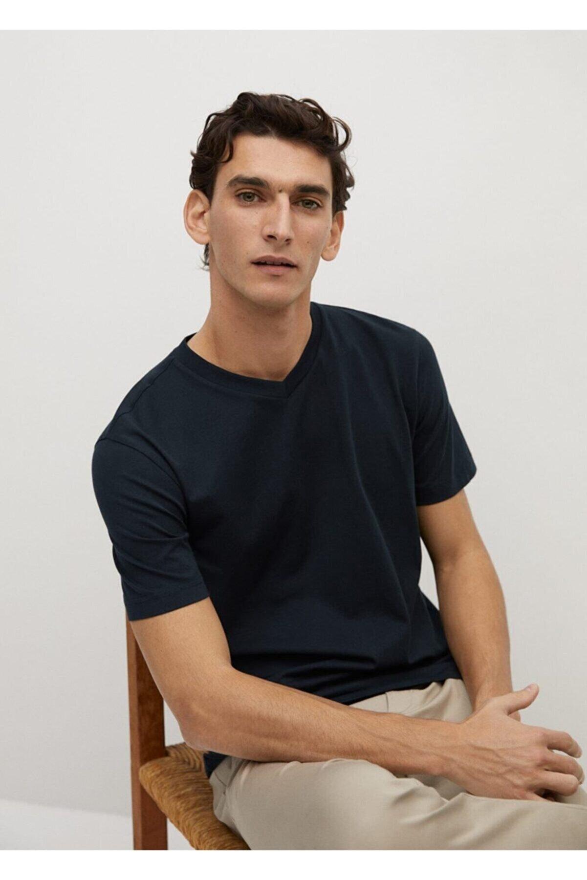 Mango Erkek Lacivert Sürdürülebilir Pamuklu Tişört