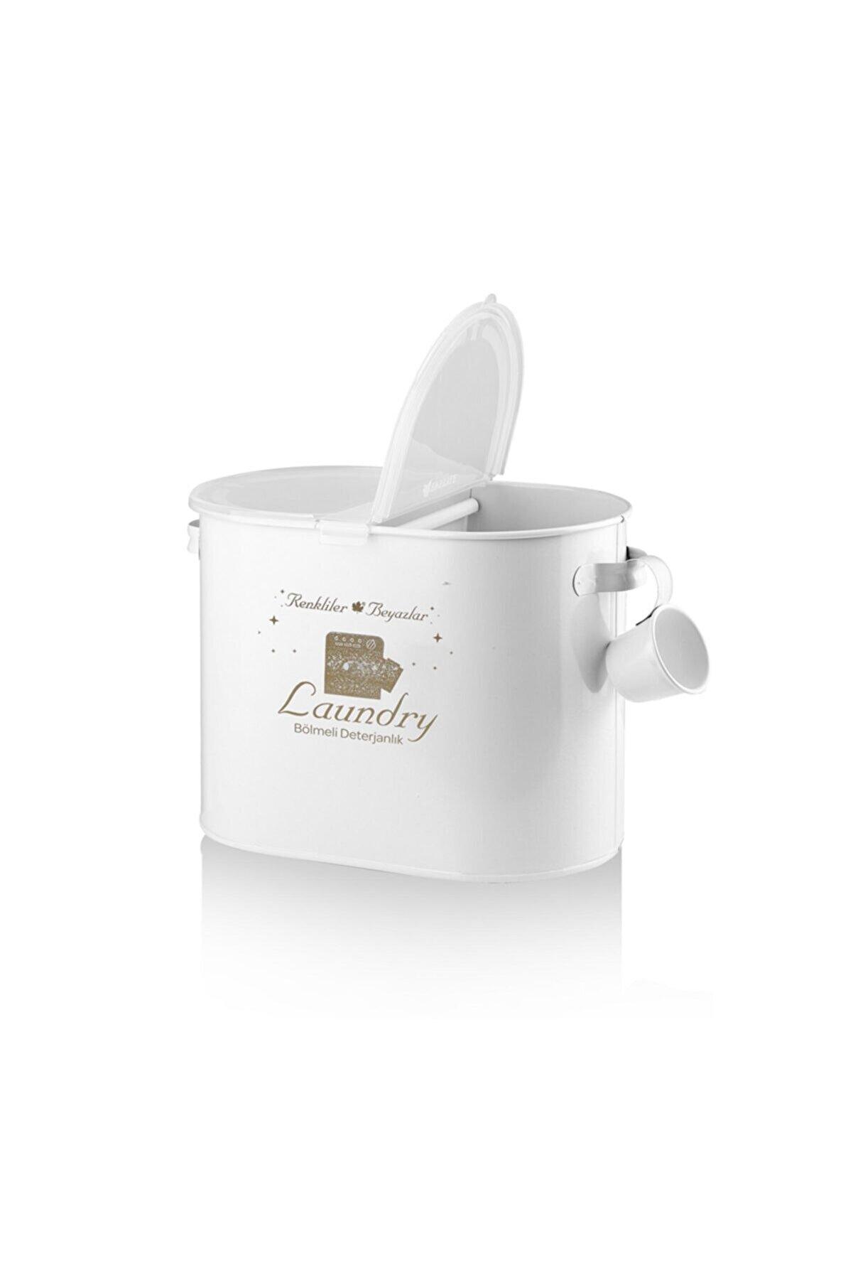 Laundry Metal 2 Bölmeli Deterjan Kutusu Beyaz