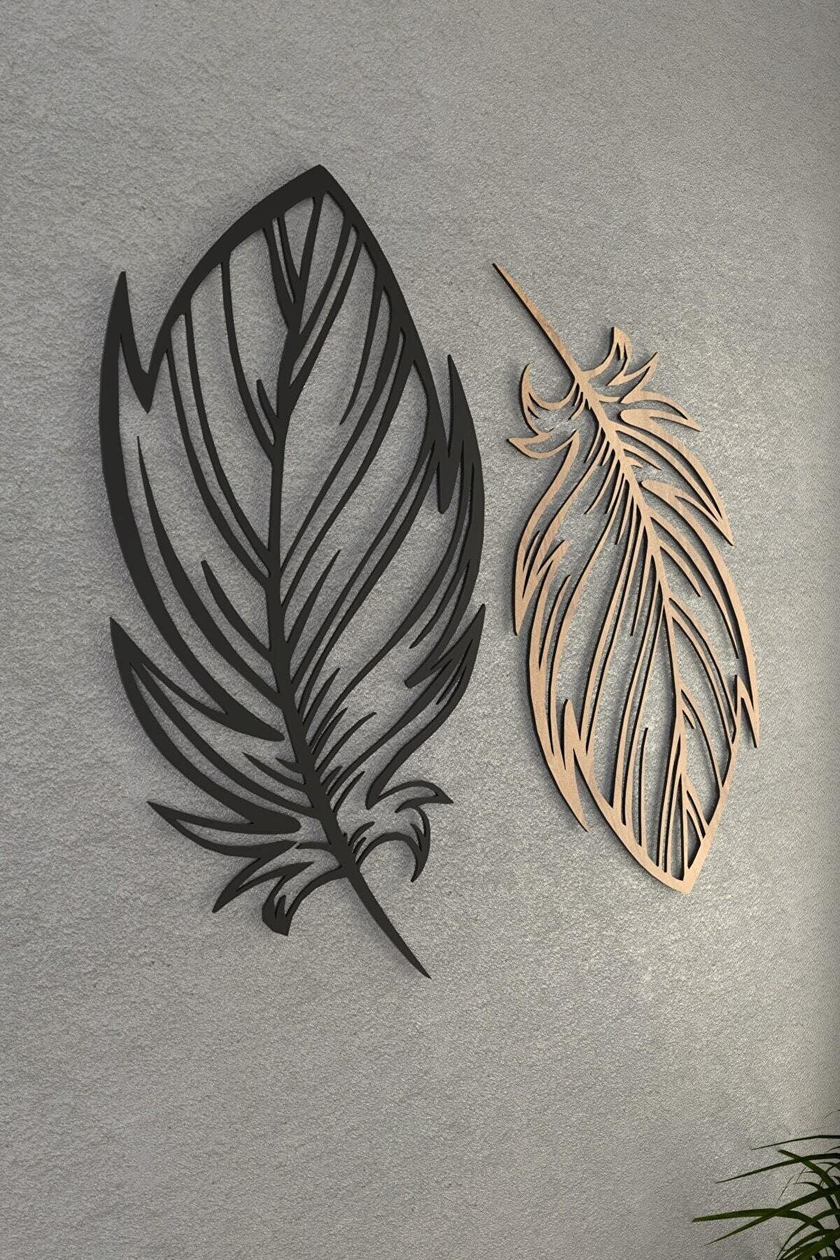 pi10reklam Kuş Tüyü Ahşap Dekoratif Duvar Dekoru Modena Siyah