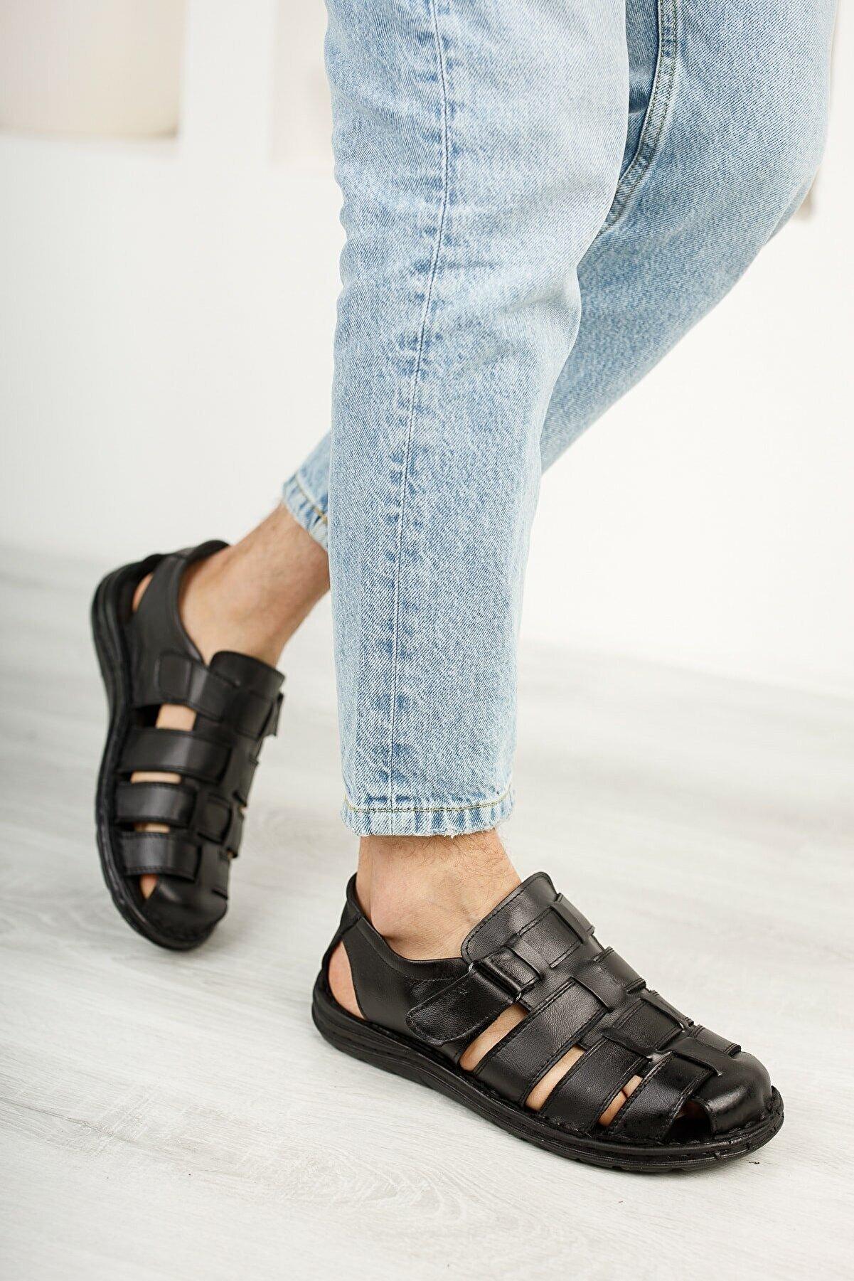 Moda İkiz Erkek Siyah Hakiki Deri Sandalet Ayakkabı