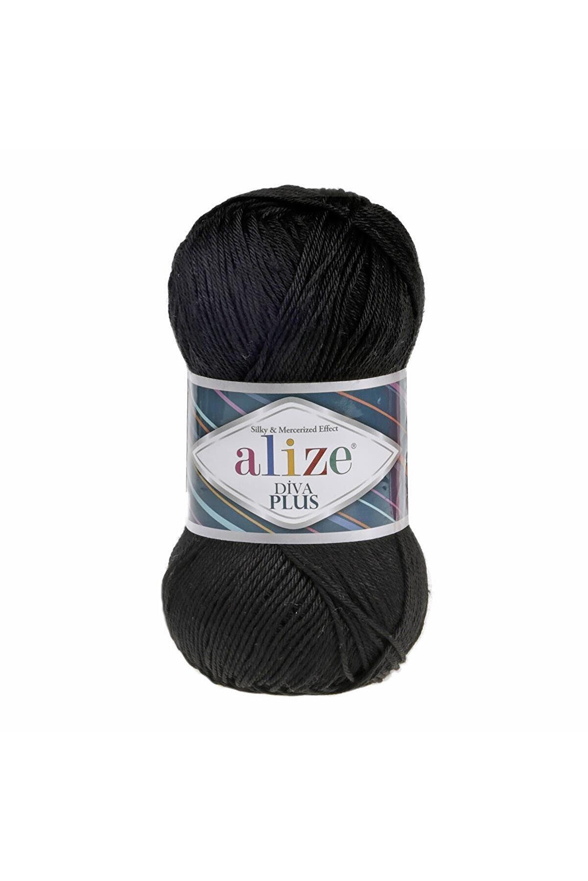 Alize 1 Yumak Diva Plus 60 Siyah 100 Gr.