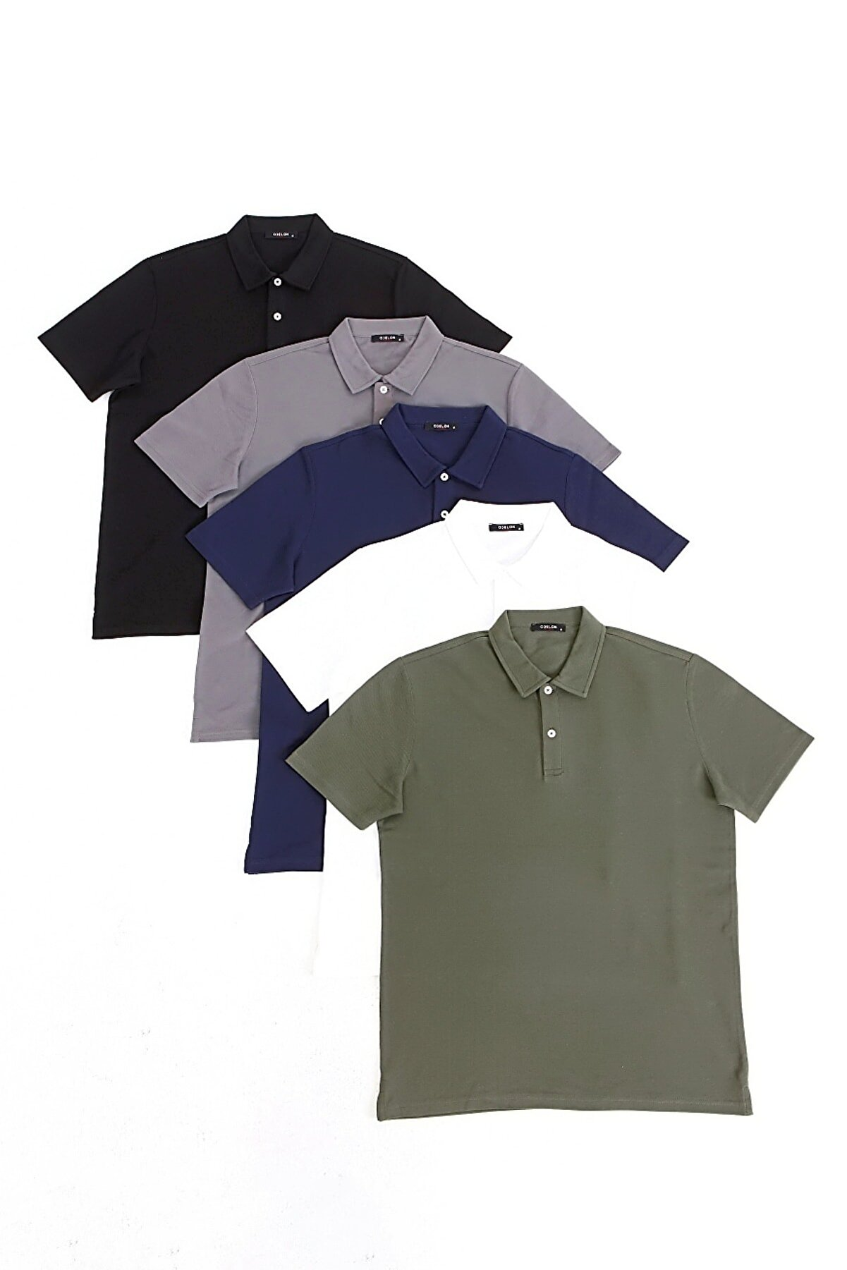 odelon Erkek Regular Fit Rahat Kalıp Polo Yaka 5li Tişört Paketi Çok Renkli