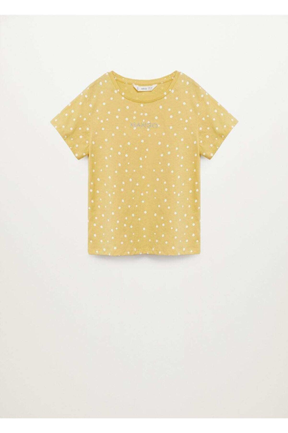 Mango Kız Çocuk Sarı Baskılı T-shirt