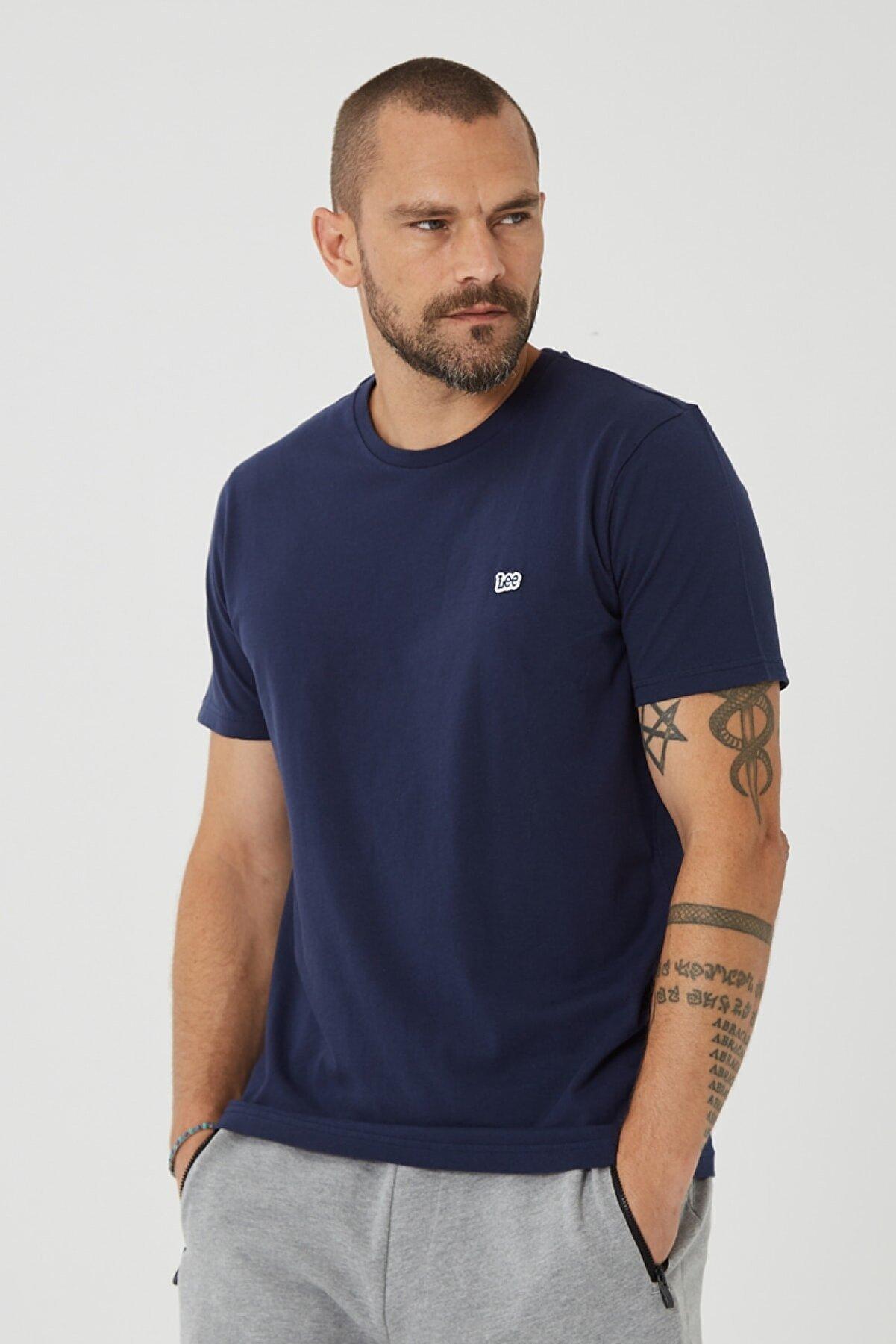 Lee Erkek Lacivert Regular Fit Normal Kesim Sıfır Yaka %100 Pamuk Tişört