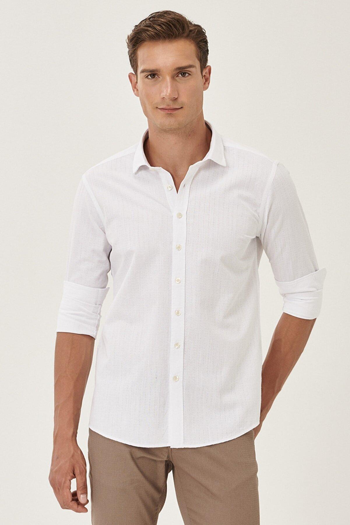 Altınyıldız Classics Erkek Beyaz Tailored Slim Fit Klasik Gömlek Yaka %100 Koton Gömlek