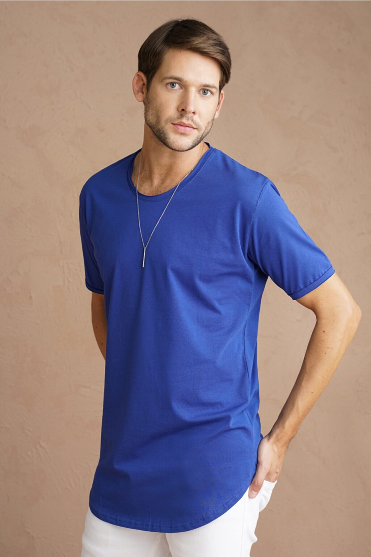 Tarz Cool Erkek Mavi Pis Yaka Salaş T-shirt