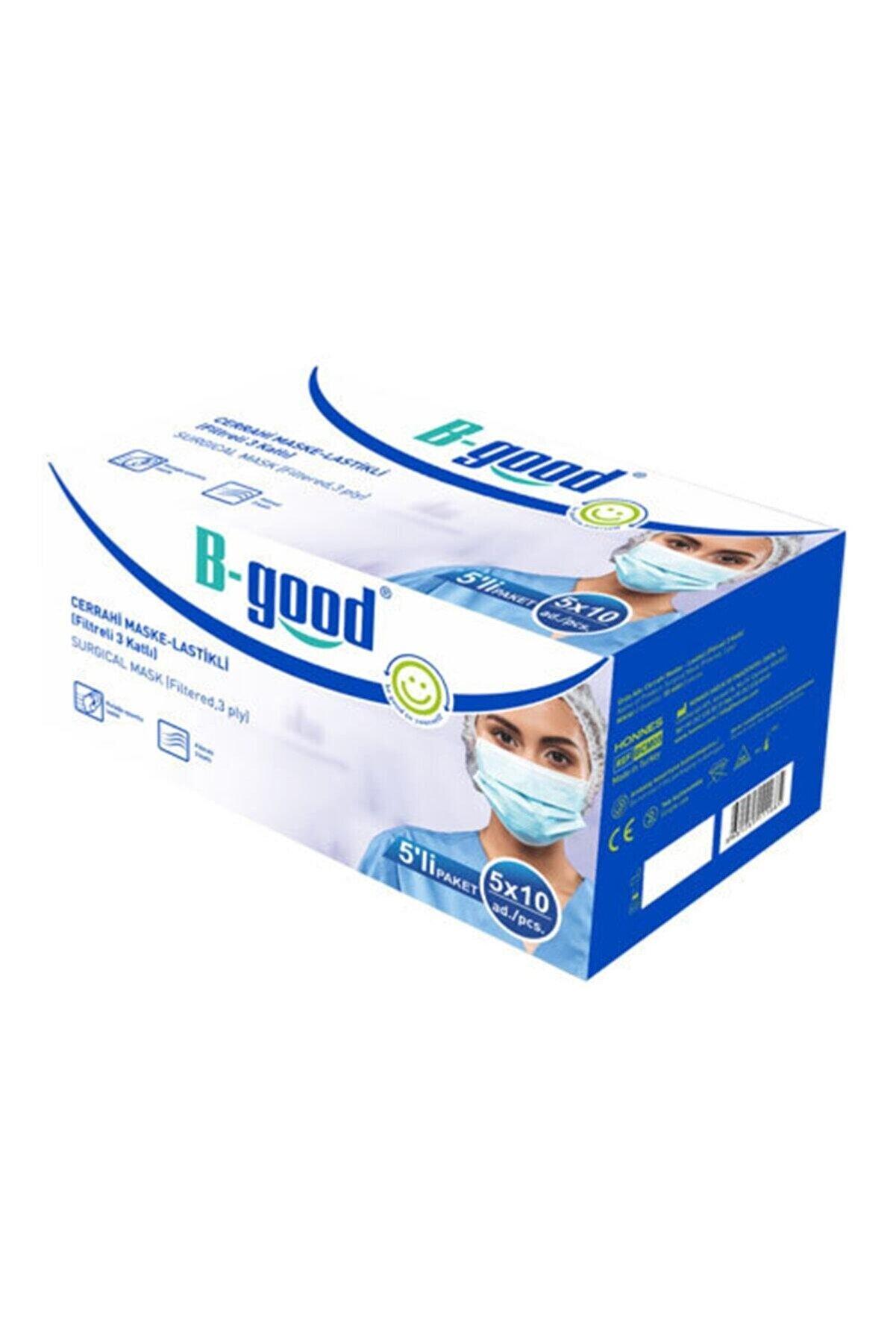 B-GOOD Cerrahi Maske Mavi 3 Katlı Burun Telli 5'li Paket