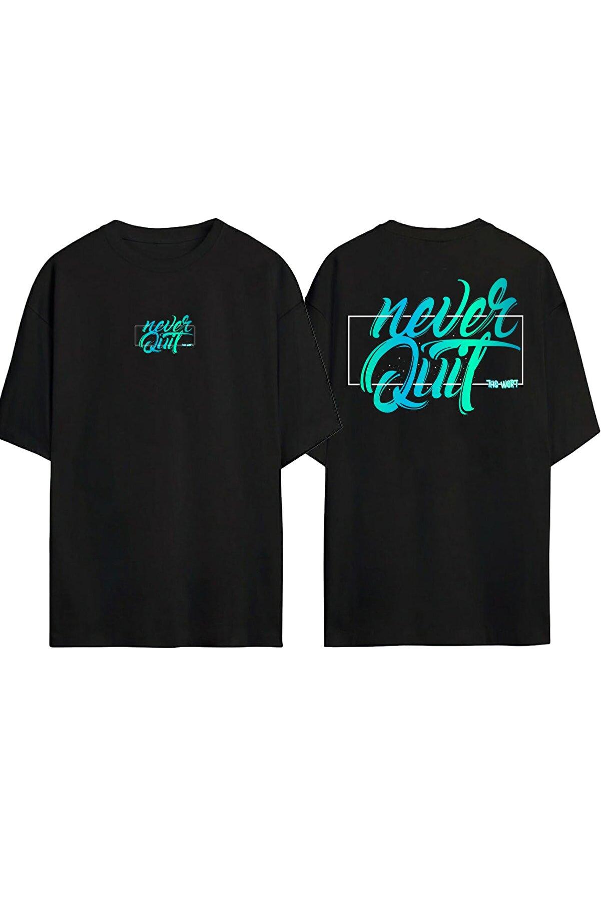 THEWERT Unisex Siyah Never Quit Baskılı Oversize T-shirt