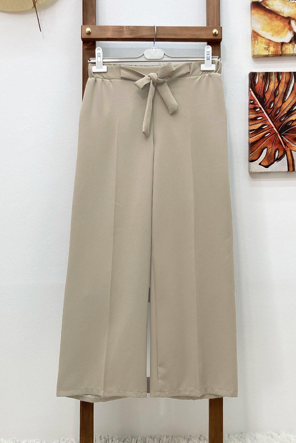 MODAQU Kuşaklı Bol Paça Pantolon Taş