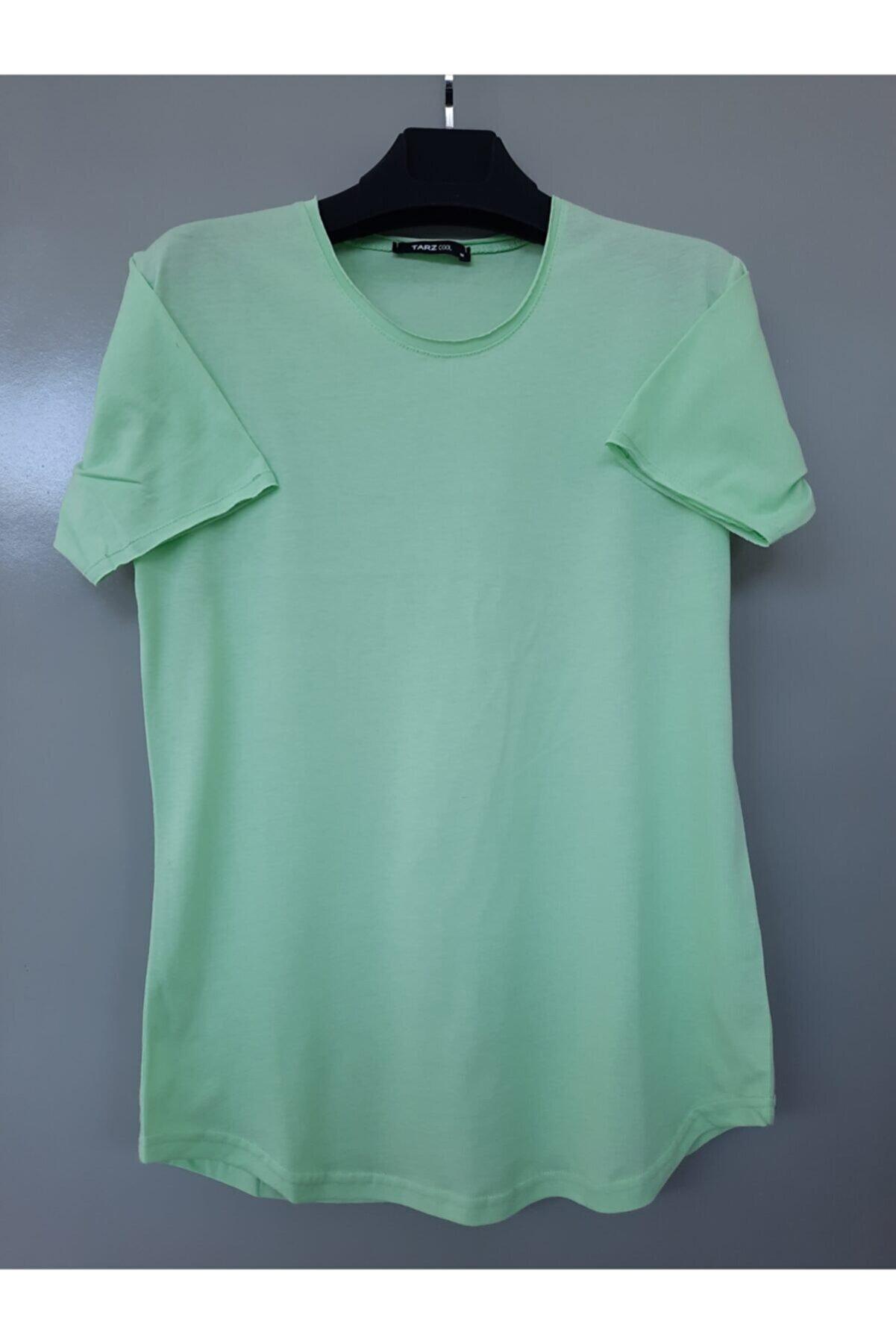 Tarz Cool Erkek Koyu Cool Yeşili Pis Yaka Salaş T-shirt