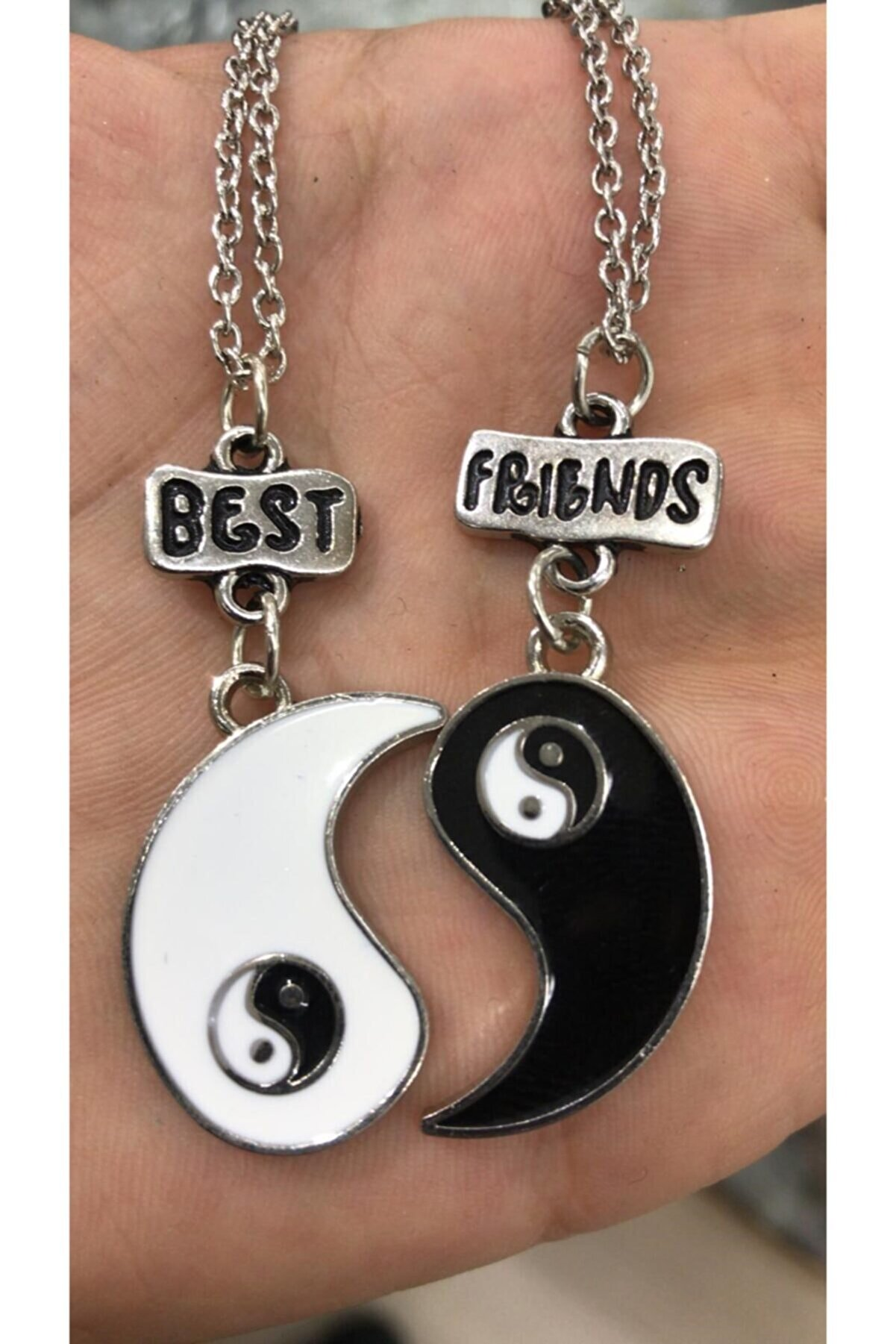 ema Ikili Ying Yang Best Friends Yazılı Bff Kolye Aksesuar Şık Süs Takı