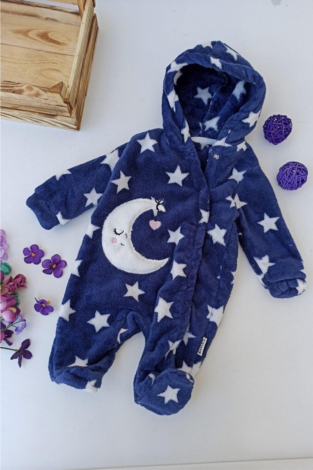 ALİSS Unisex Bebek Lacivert Ay Desenli Kapşonlu Welsoft Kışlık Tulum