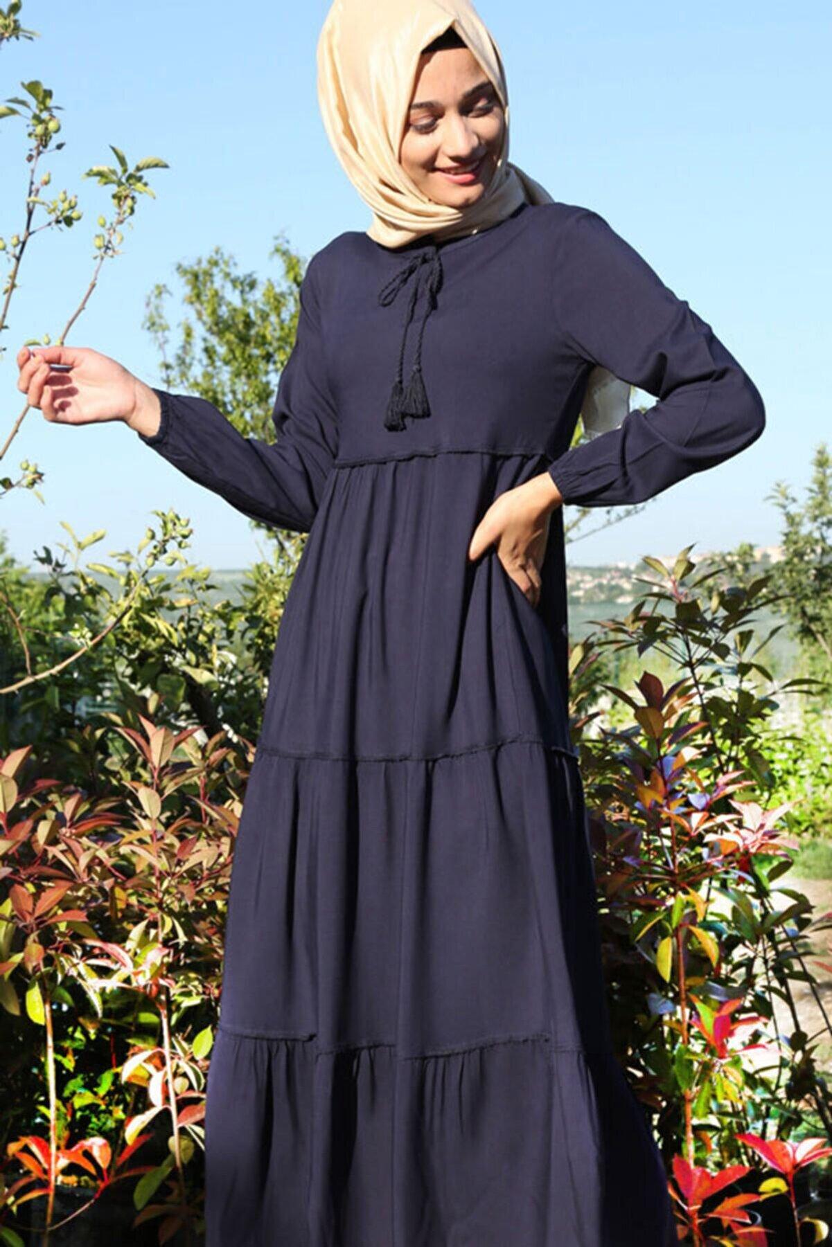 Bigdart Kadın Lacivert Yaka Bağcıklı Tesettür Elbise